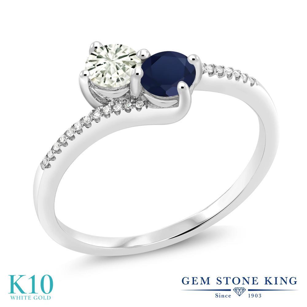 Gem Stone King 0.75カラット Forever Classic モアッサナイト Charles & Colvard 天然 サファイア 天然 ダイヤモンド 10金 ホワイトゴールド(K10) 指輪 リング レディース モアサナイト 小粒 ダブルストーン 金属アレルギー対応 誕生日プレゼント