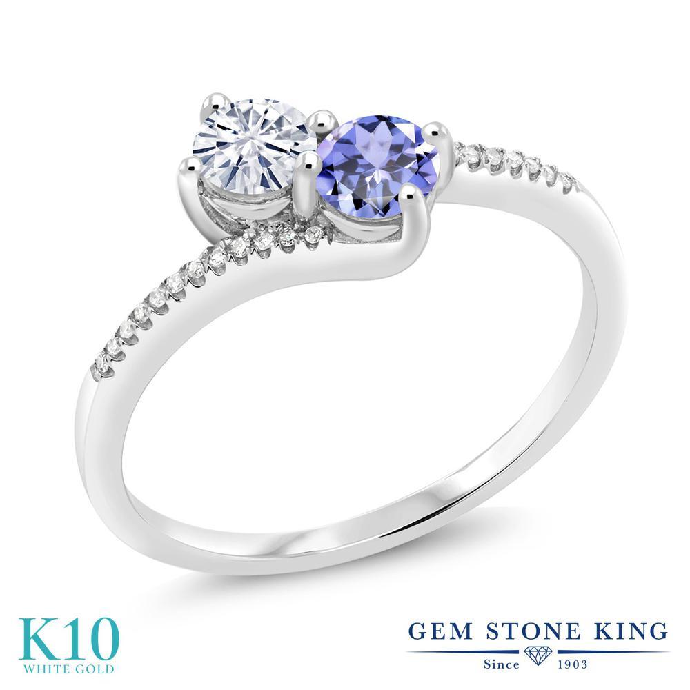 Gem Stone King 0.7カラット Forever Classic モアッサナイト Charles & Colvard 天然石 タンザナイト 天然ダイヤモンド 10金 ホワイトゴールド(K10) 天然ダイヤモンド 指輪 リング レディース 小粒 誕生日プレゼント
