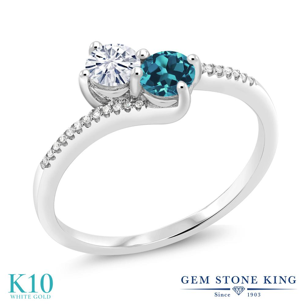 Gem Stone King 0.73カラット Forever Classic モアッサナイト Charles & Colvard 天然トパーズ(ロンドンブルー) 天然ダイヤモンド 10金 ホワイトゴールド(K10) 天然ダイヤモンド 指輪 リング レディース 小粒 誕生日プレゼント