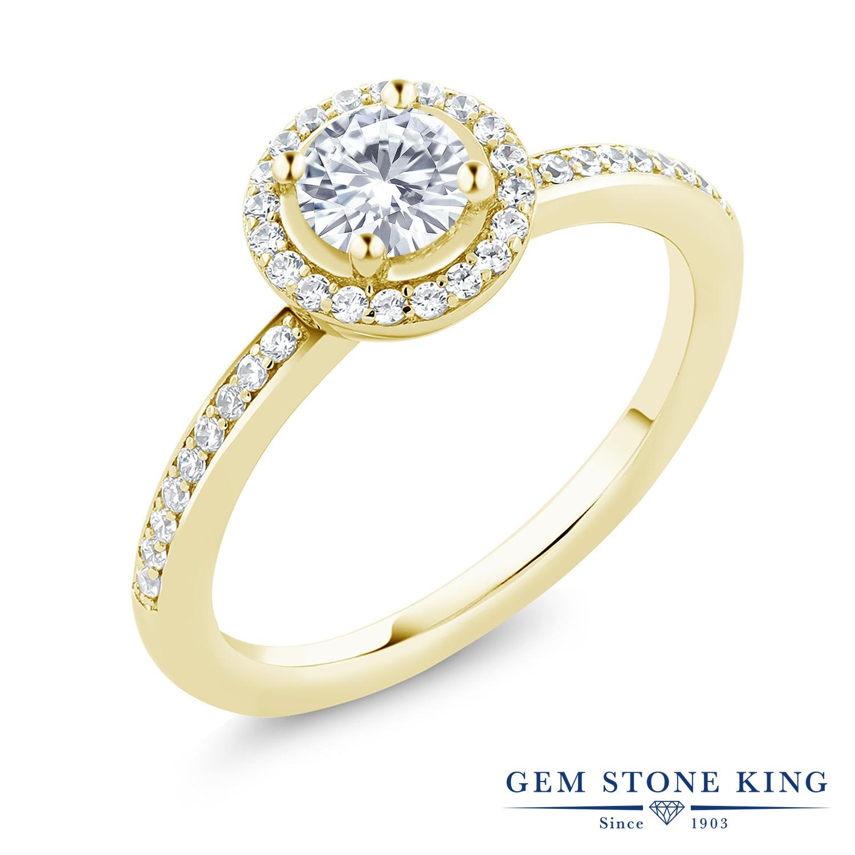 Gem Stone King 0.69カラット Forever Brilliant モアッサナイト Charles & Colvard シルバー 925 イエローゴールドコーティング 指輪 リング レディース 小粒 誕生日プレゼント