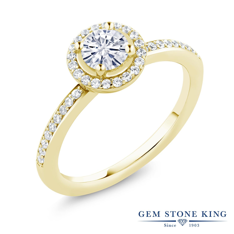 【10%OFF】 Gem Stone King 0.69カラット Forever Classic モアッサナイト Charles & Colvard シルバー 925 イエローゴールドコーティング 指輪 リング レディース モアサナイト 小粒 ヘイロー 金属アレルギー対応 誕生日プレゼント