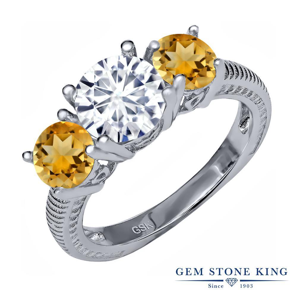 Gem Stone King 2.65カラット Forever Classic モアッサナイト Charles & Colvard 天然 シトリン シルバー925 指輪 リング レディース モアサナイト 大粒 シンプル スリーストーン 金属アレルギー対応 誕生日プレゼント