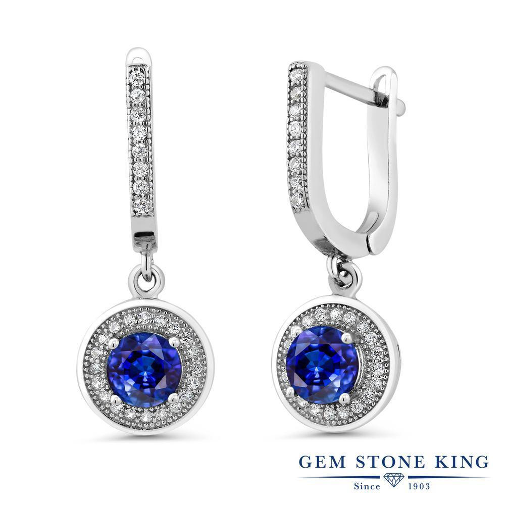 Gem Stone King 3.22カラット 天然 カイヤナイト (ブルー) シルバー925 ピアス レディース 大粒 大ぶり ぶら下がり フープ 天然石 金属アレルギー対応 誕生日プレゼント