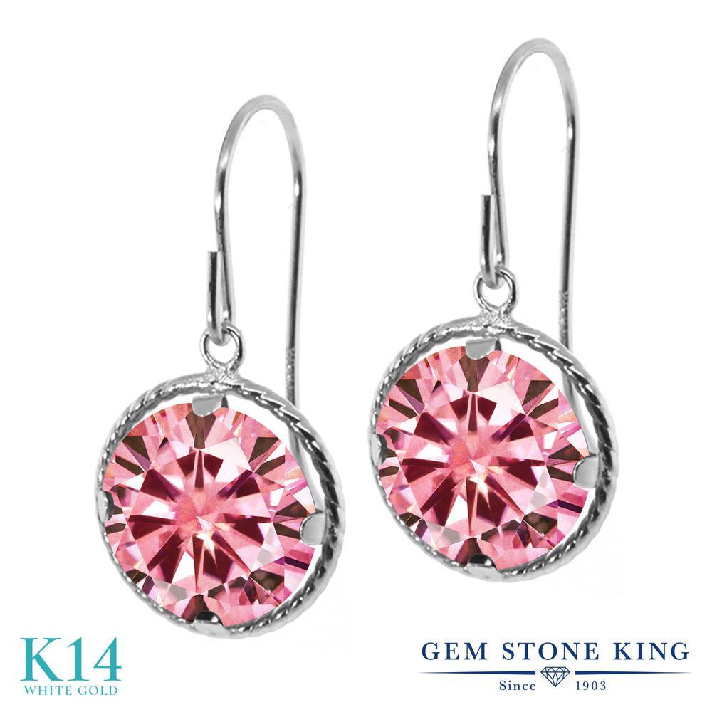 Gem Stone King 3.8カラット ピンク モアサナイト Charles & Colvard 14金 ホワイトゴールド(K14) ピアス レディース モアッサナイト 大粒 シンプル ぶら下がり アメリカン 揺れる 金属アレルギー対応 誕生日プレゼント