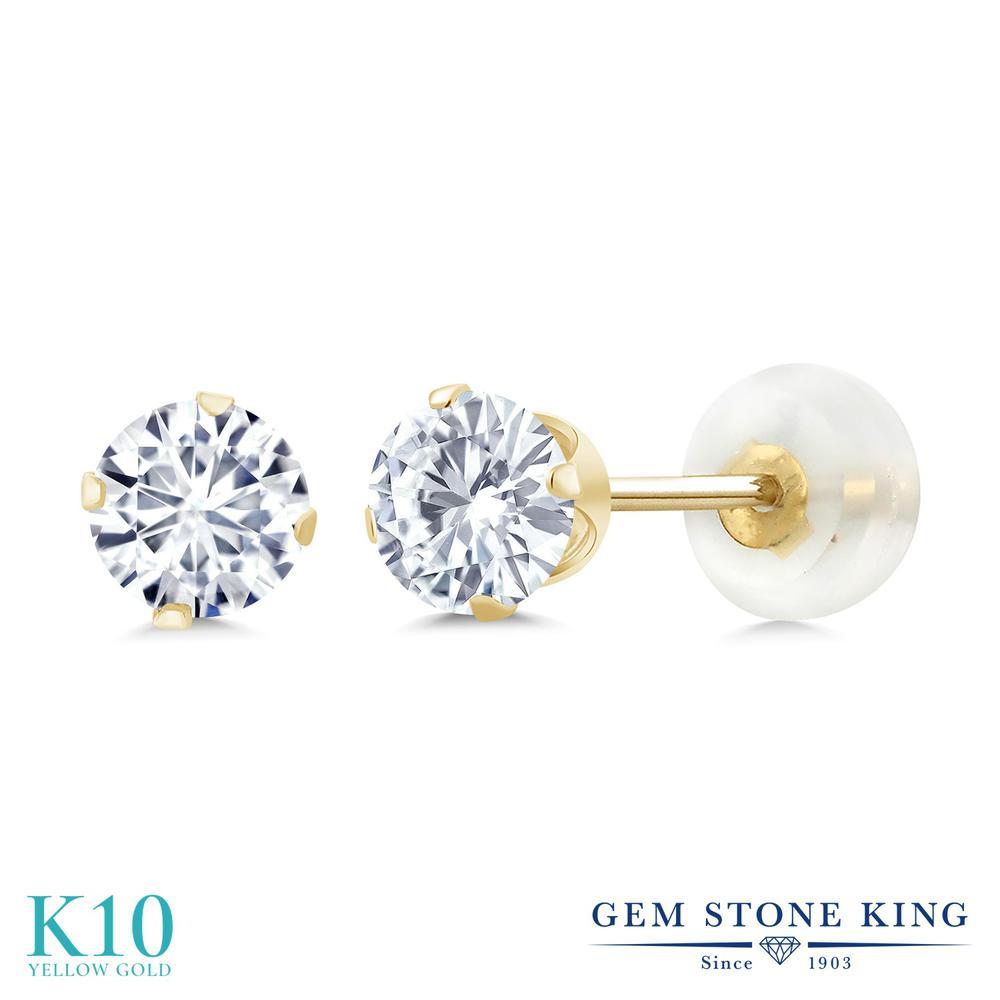 Gem Stone King 1カラット Forever Brilliant モアサナイト Charles & Colvard 10金 イエローゴールド(K10) ピアス レディース モアッサナイト 小粒 シンプル スタッド 金属アレルギー対応 誕生日プレゼント