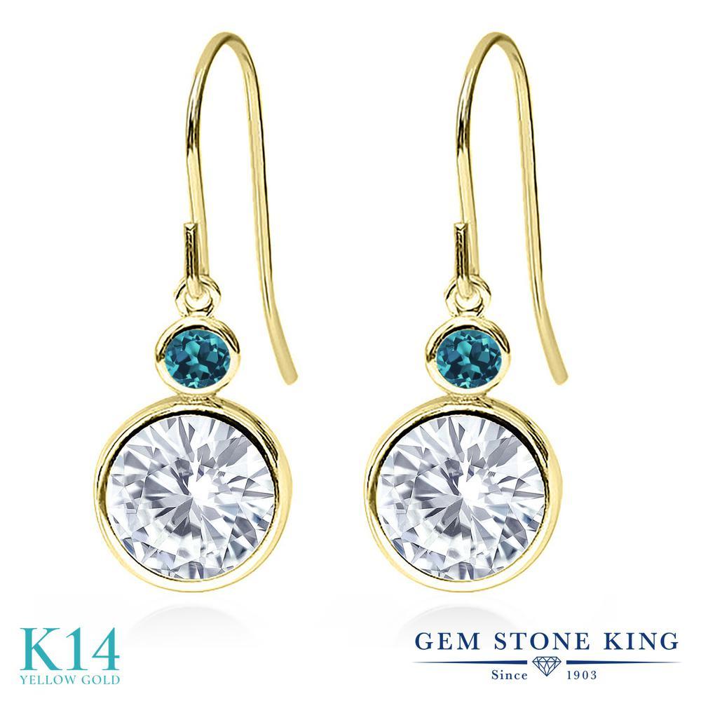 Gem Stone King 4.06カラット Forever One GHI モアッサナイト Charles & Colvard 天然トパーズ(ロンドンブルー) 14金 イエローゴールド(K14) ピアス レディース 大粒 誕生日プレゼント