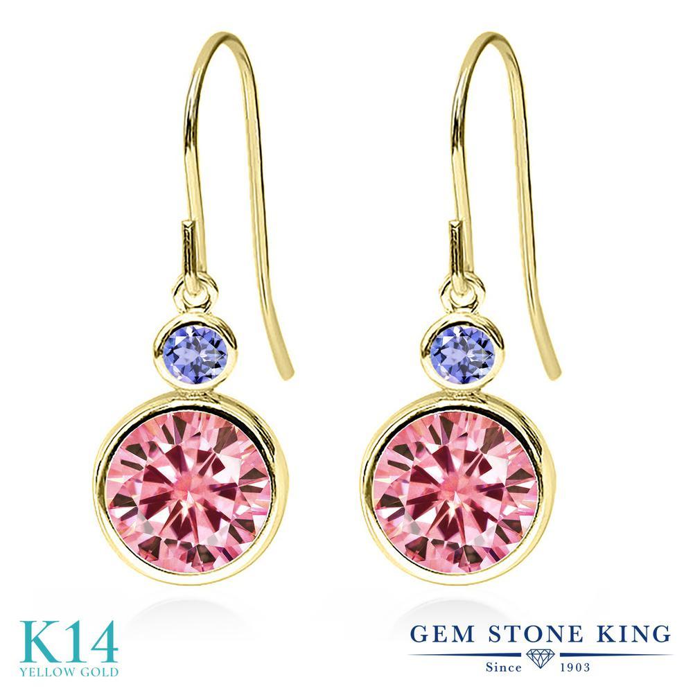 Gem Stone King 4.1カラット ピンク モアサナイト Charles & Colvard 天然石 タンザナイト 14金 イエローゴールド(K14) ピアス レディース モアッサナイト 大粒 ぶら下がり フレンチワイヤー 金属アレルギー対応 誕生日プレゼント