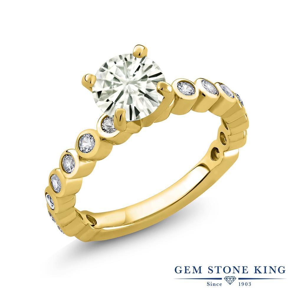 Gem Stone King 1.84カラット Forever Classic モアッサナイト Charles & Colvard 合成ホワイトサファイア(ダイヤのような無色透明) シルバー 925 イエローゴールドコーティング 指輪 リング レディース 大粒 誕生日プレゼント