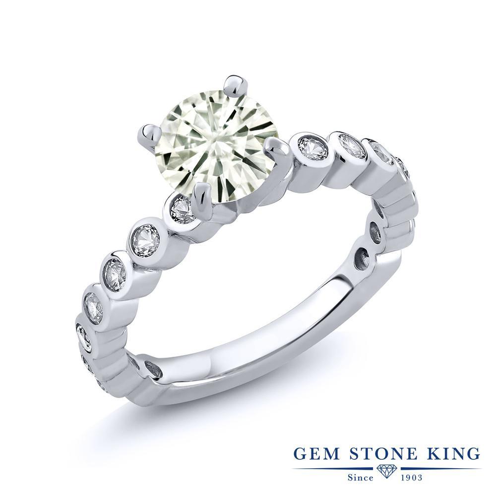 Gem Stone King 1.84カラット Forever Classic モアッサナイト Charles & Colvard 合成ホワイトサファイア(ダイヤのような無色透明) シルバー925 指輪 リング レディース 大粒 誕生日プレゼント