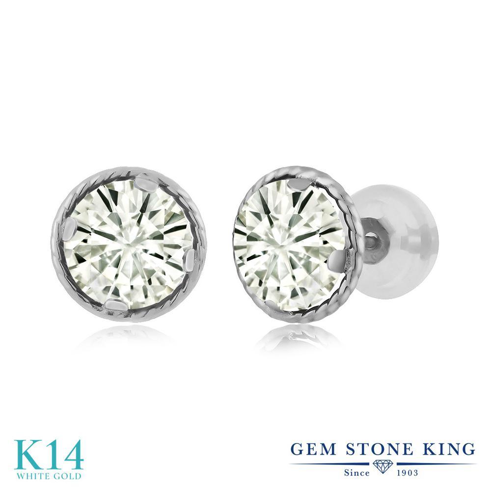 Gem Stone King 1.6カラット Forever Classic モアッサナイト Charles & Colvard 14金 ホワイトゴールド(K14) ピアス レディース モアサナイト シンプル スタッド 金属アレルギー対応 誕生日プレゼント