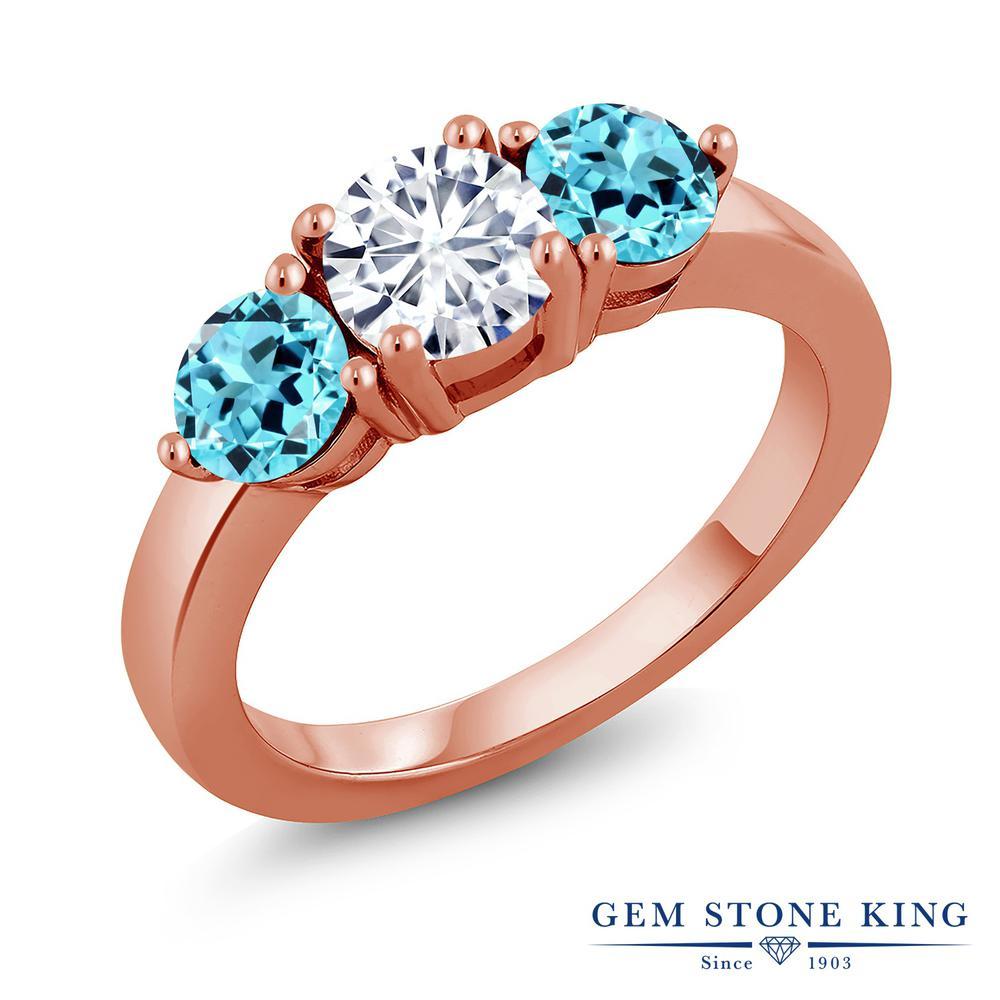 Gem Stone King 2.1カラット Forever Classic モアサナイト Charles & Colvard 天然 スイスブルートパーズ シルバー925 ピンクゴールドコーティング 指輪 リング レディース モアッサナイト シンプル スリーストーン 金属アレルギー対応 誕生日プレゼント
