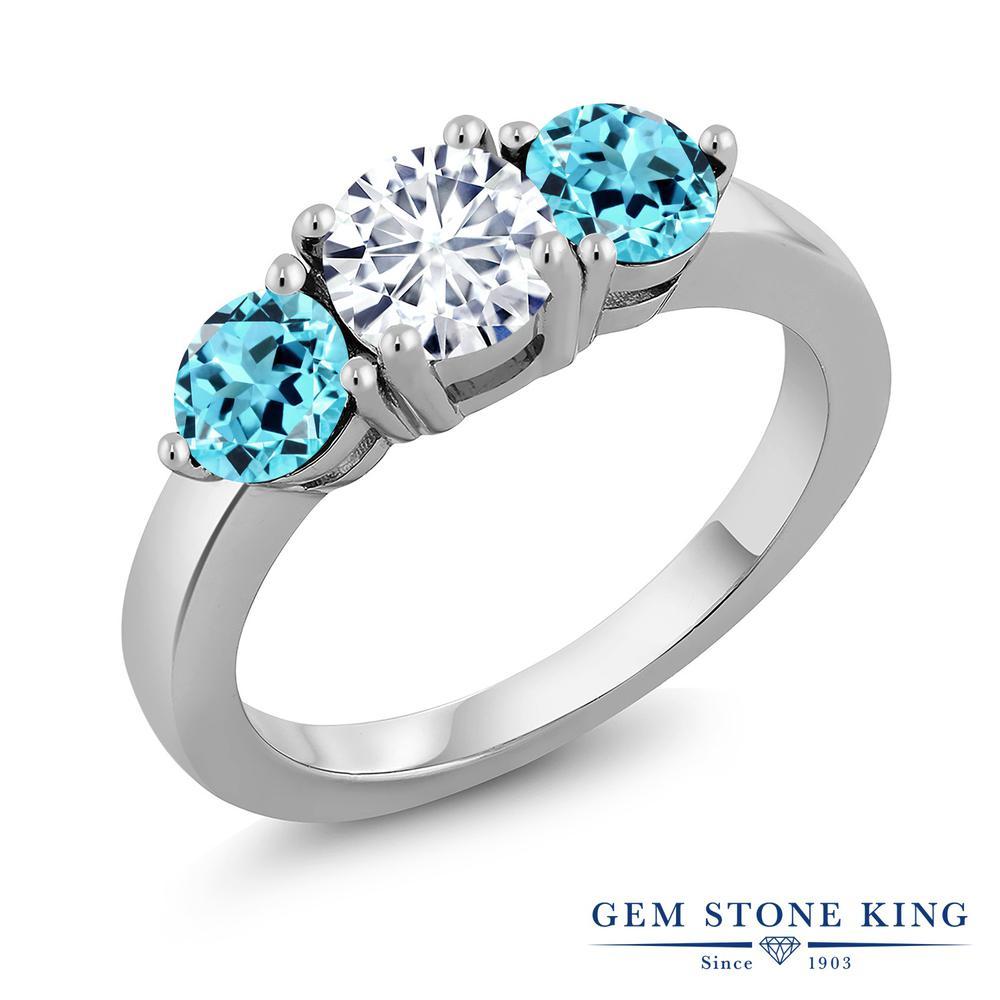 Gem Stone King 2.1カラット Forever Classic モアサナイト Charles & Colvard 天然 スイスブルートパーズ シルバー925 指輪 リング レディース モアッサナイト シンプル スリーストーン 金属アレルギー対応 誕生日プレゼント