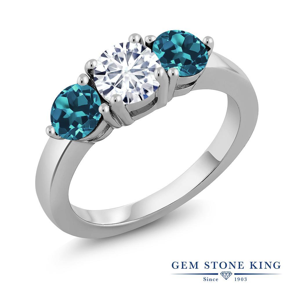 Gem Stone King 2.2カラット Forever Classic モアサナイト Charles & Colvard 天然 ロンドンブルートパーズ シルバー925 指輪 リング レディース モアッサナイト シンプル スリーストーン 金属アレルギー対応 誕生日プレゼント