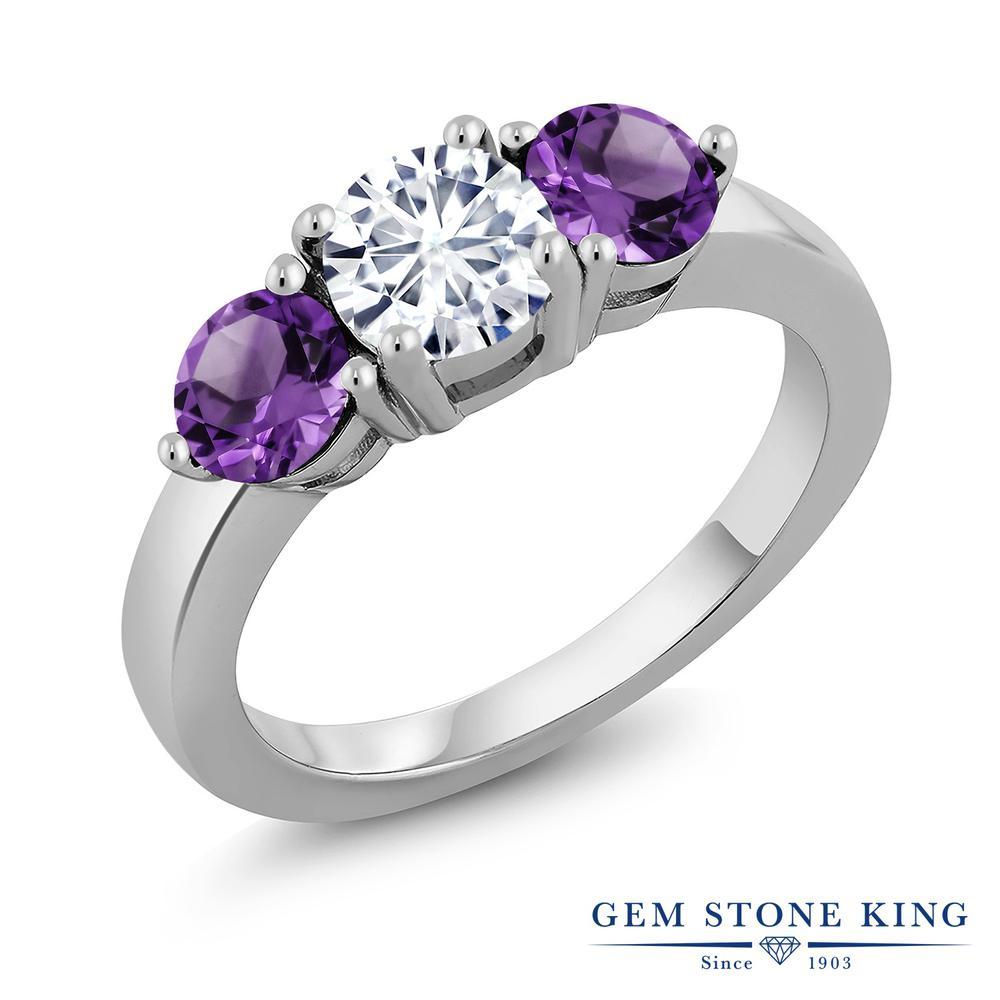 【10%OFF】 Gem Stone King 1.75カラット Forever Classic モアサナイト Charles & Colvard 天然 アメジスト 指輪 リング レディース シルバー925 モアッサナイト シンプル スリーストーン クリスマスプレゼント 女性 彼女 妻 誕生日
