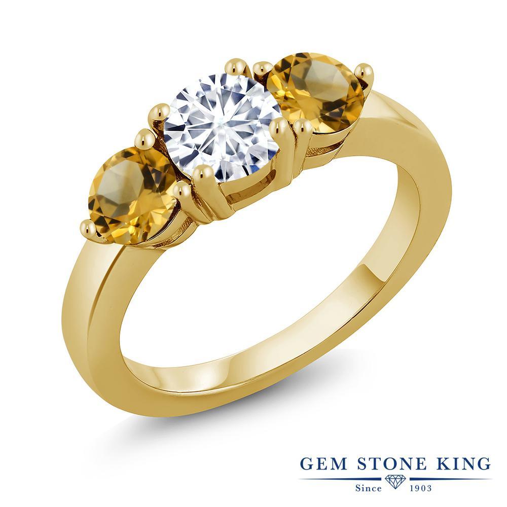 Gem Stone King 2.25カラット Forever Classic モアサナイト Charles & Colvard 天然 シトリン シルバー925 イエローゴールドコーティング 指輪 リング レディース モアッサナイト シンプル スリーストーン 金属アレルギー対応 誕生日プレゼント