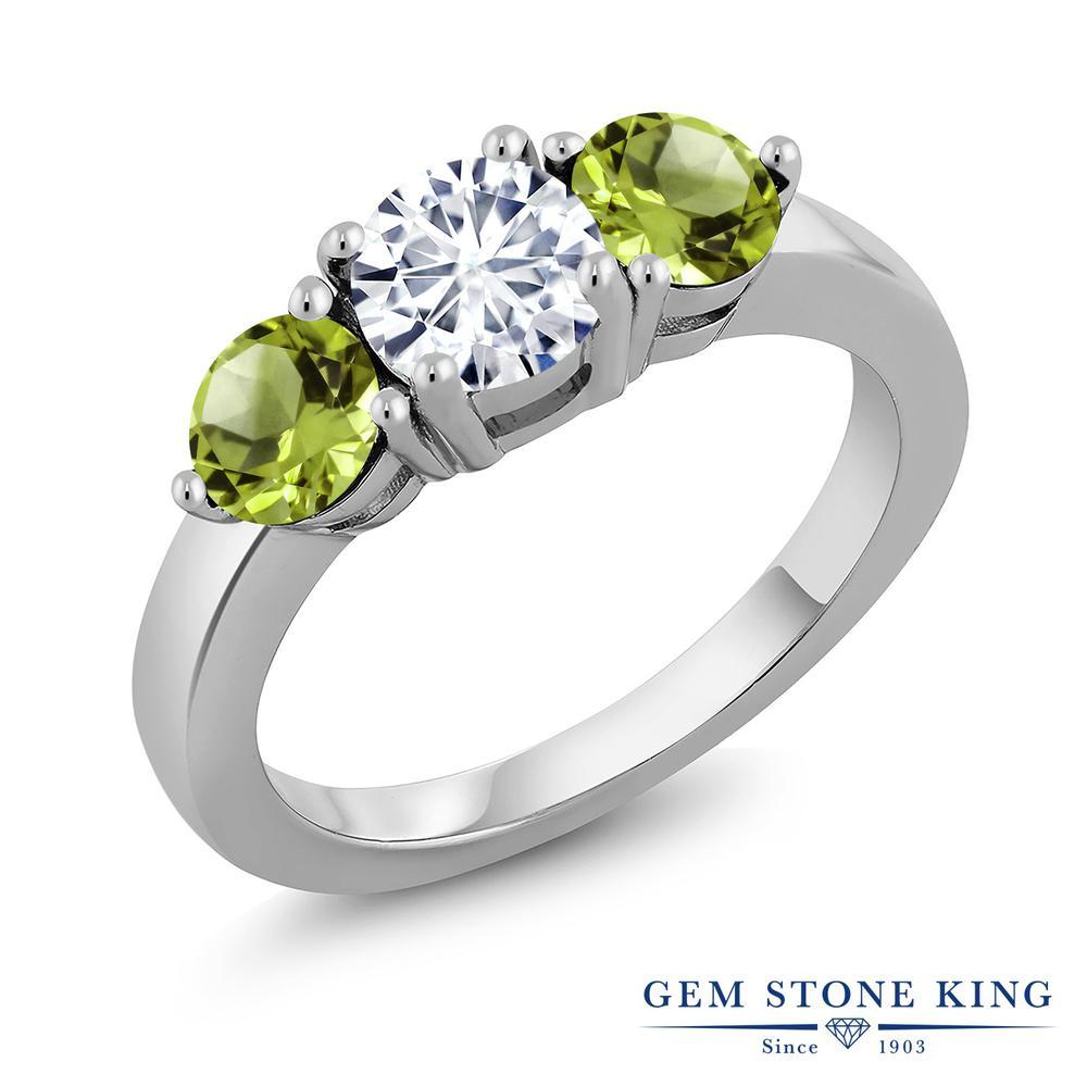 Gem Stone King 1.9カラット Forever Classic モアサナイト Charles & Colvard 天然石 ペリドット シルバー925 指輪 リング レディース モアッサナイト シンプル スリーストーン 金属アレルギー対応 誕生日プレゼント