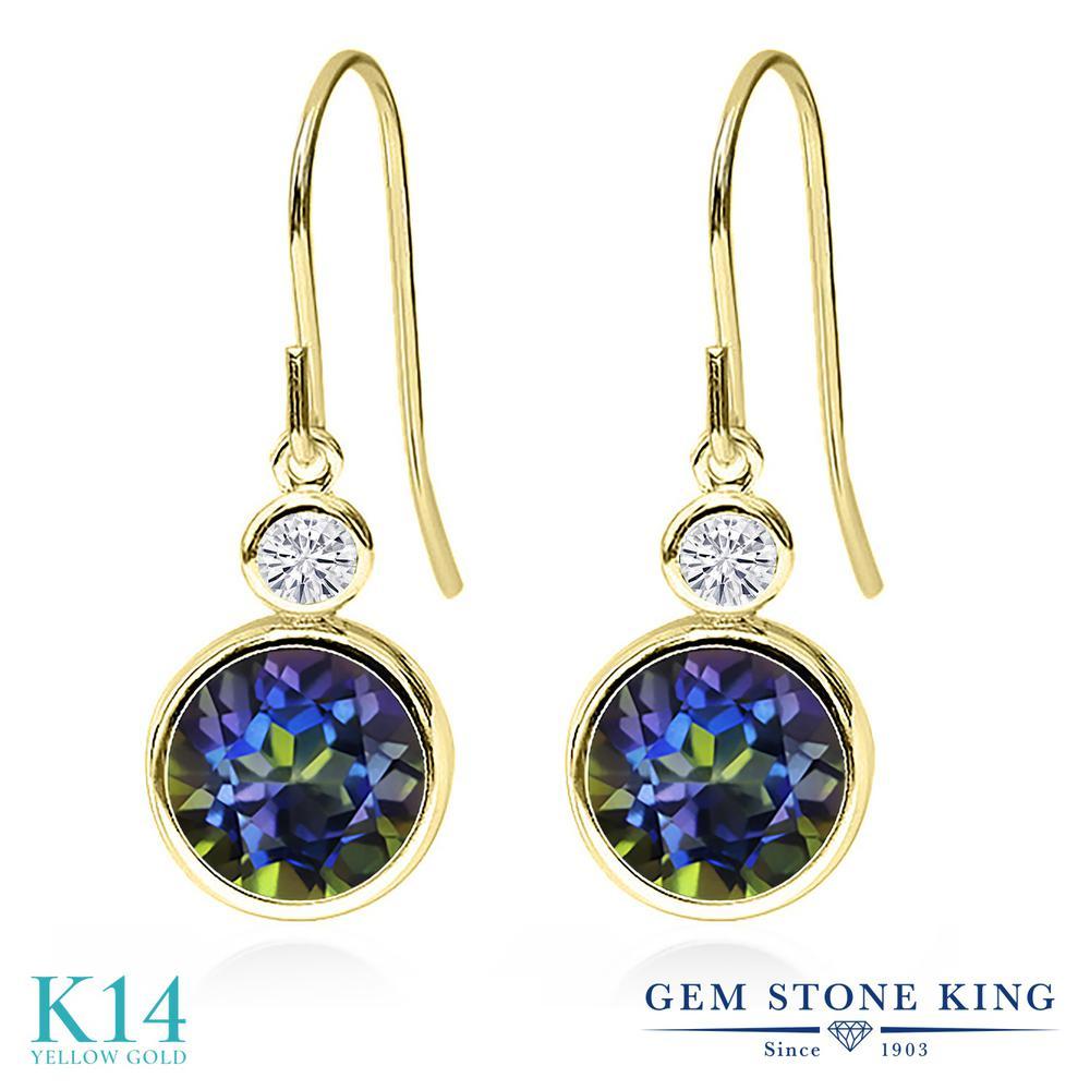 Gem Stone King 4.2カラット 天然石 ミスティックトパーズ (ブルー) モアサナイト Charles & Colvard 14金 イエローゴールド(K14) ピアス レディース 大粒 ぶら下がり フレンチワイヤー 金属アレルギー対応 誕生日プレゼント