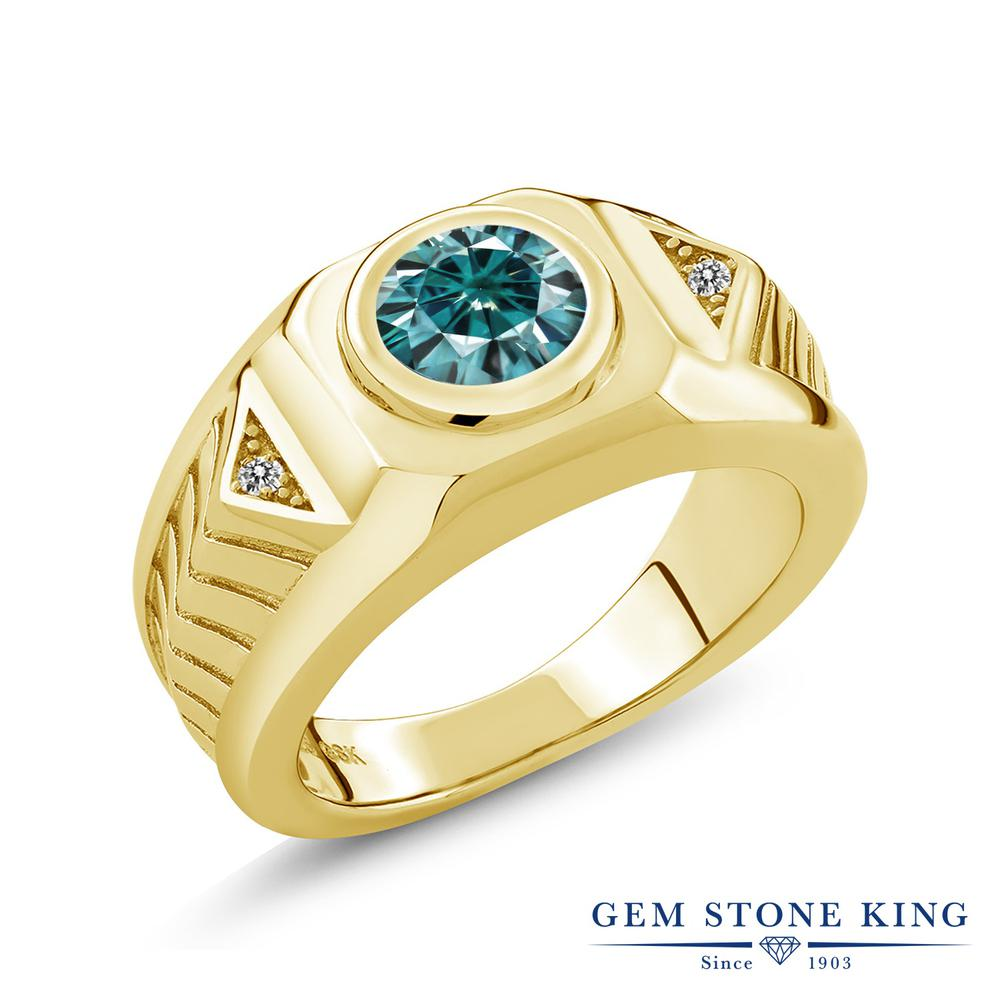 Gem Stone King 1.93カラット ブルー モアサナイト Charles & Colvard 天然 ダイヤモンド シルバー925 イエローゴールドコーティング 指輪 リング レディース モアッサナイト 大粒 シンプル ソリティア 金属アレルギー対応 誕生日プレゼント