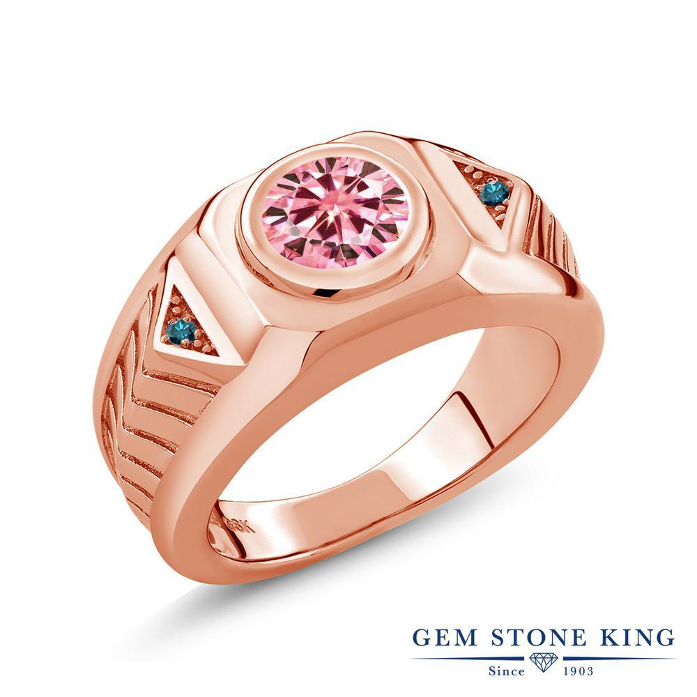 Gem Stone King 1.93カラット ピンク モアサナイト Charles & Colvard 天然 ブルーダイヤモンド シルバー925 ピンクゴールドコーティング 指輪 リング レディース モアッサナイト 大粒 シンプル ソリティア 金属アレルギー対応 誕生日プレゼント