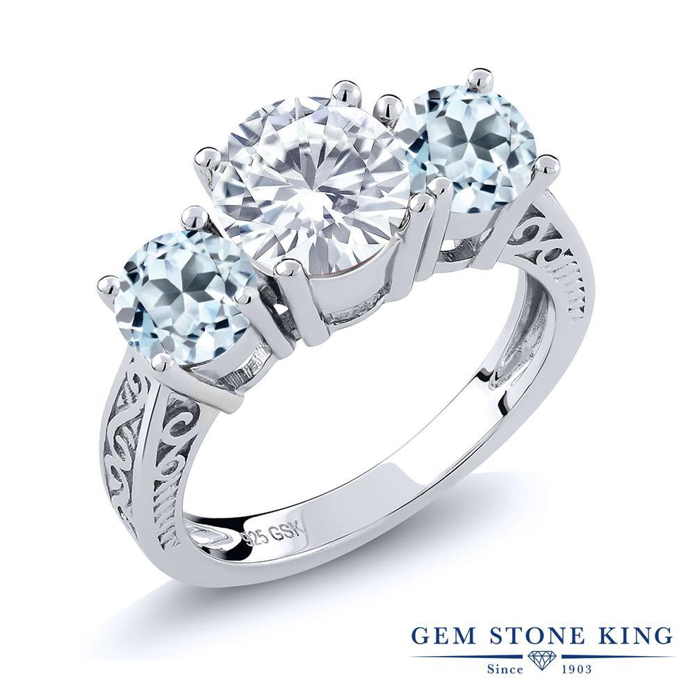 Gem Stone King 2.6カラット Forever Brilliant モアッサナイト Charles & Colvard 天然トパーズ(スカイブルー) シルバー925 指輪 リング レディース 大粒 シンプル 誕生日プレゼント