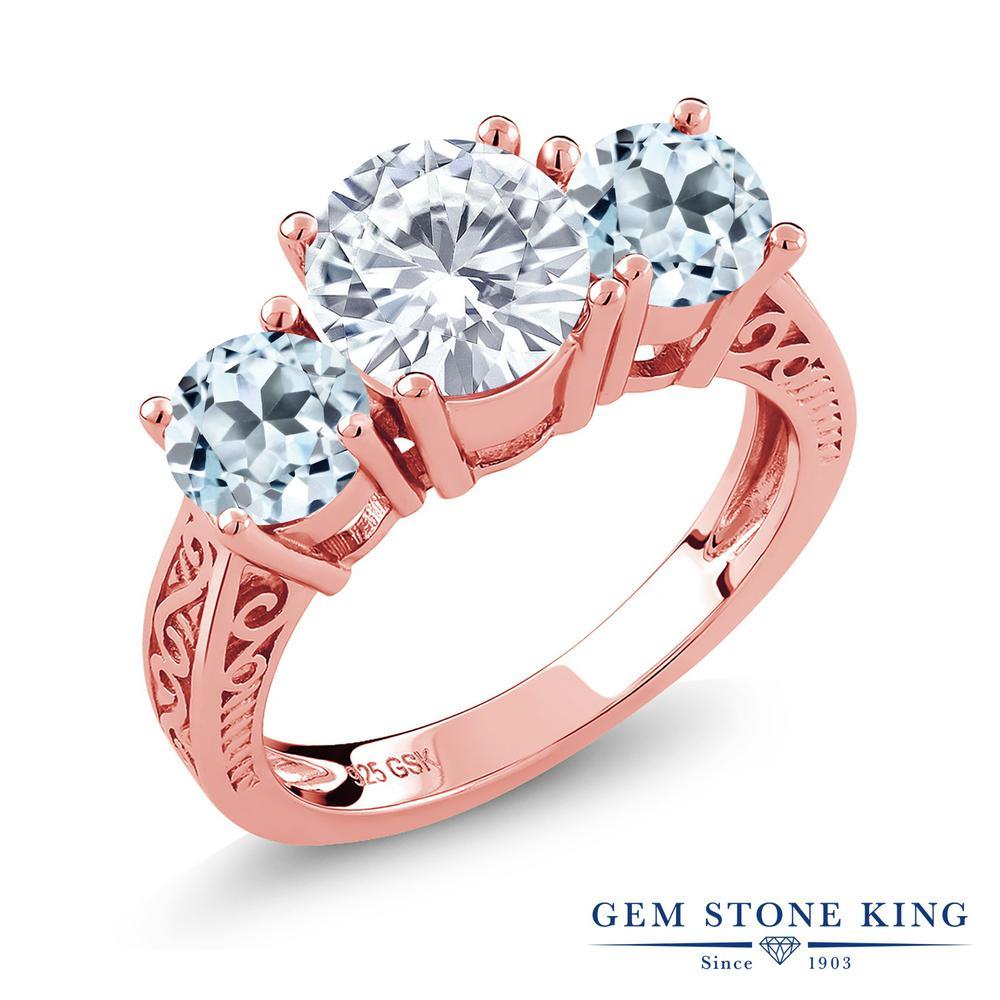 Gem Stone King 2.6カラット Forever Brilliant モアッサナイト Charles & Colvard 天然トパーズ(スカイブルー) シルバー 925 ローズゴールドコーティング 指輪 リング レディース 大粒 シンプル 誕生日プレゼント