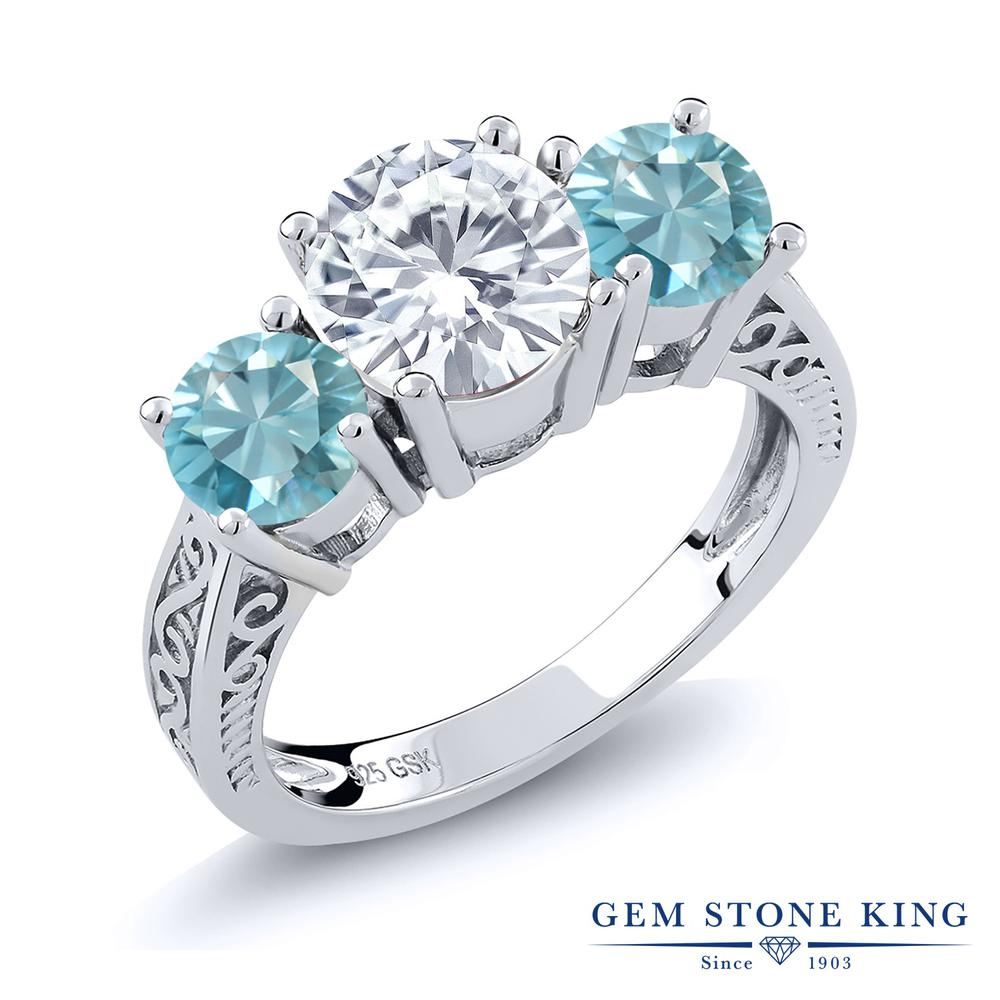 Gem Stone King 2.9カラット Forever Brilliant モアッサナイト Charles & Colvard 天然石 ジルコン(ブルー) シルバー925 指輪 リング レディース 大粒 シンプル 誕生日プレゼント