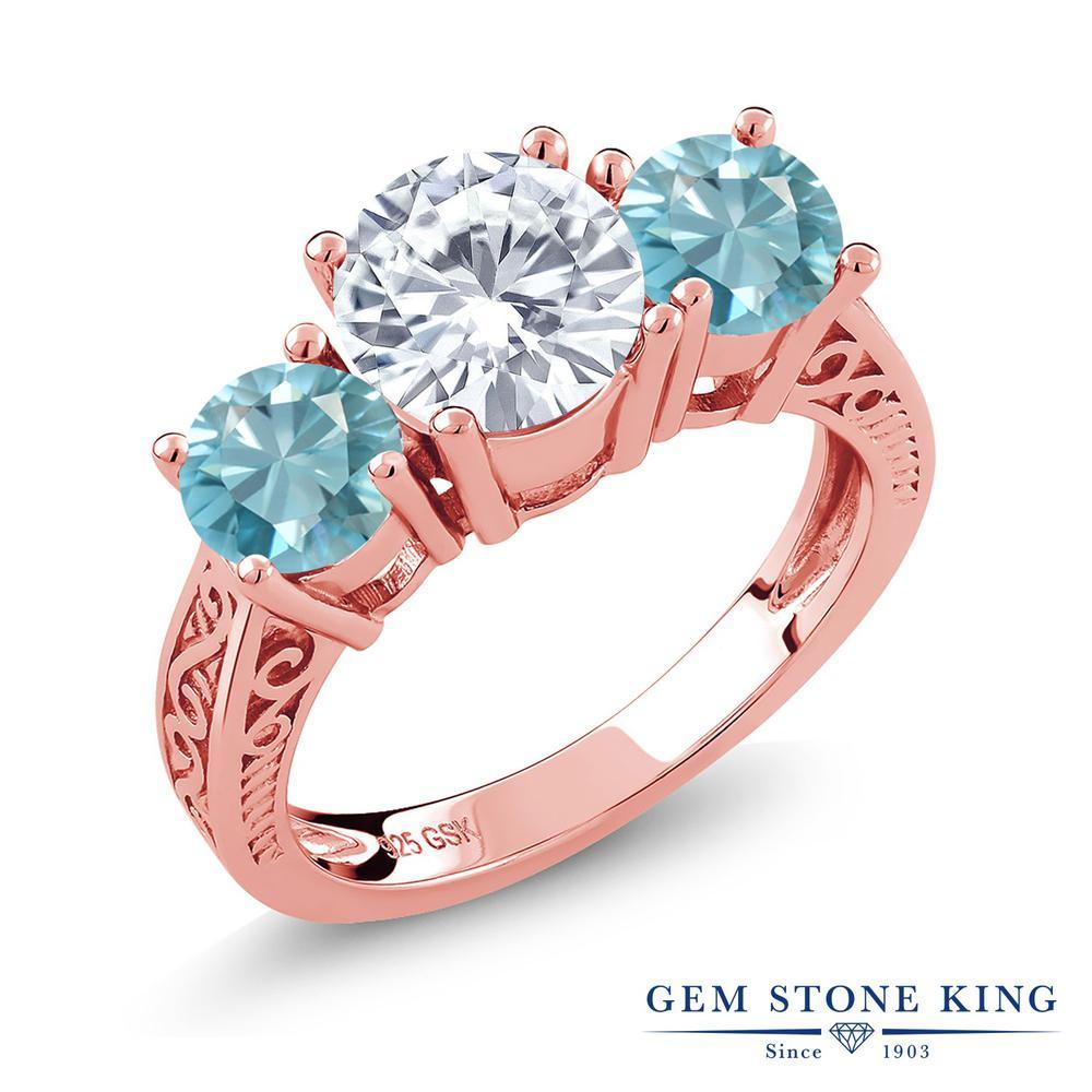Gem Stone King 2.9カラット Forever Brilliant モアッサナイト Charles & Colvard 天然石 ジルコン(ブルー) シルバー 925 ローズゴールドコーティング 指輪 リング レディース 大粒 シンプル 誕生日プレゼント