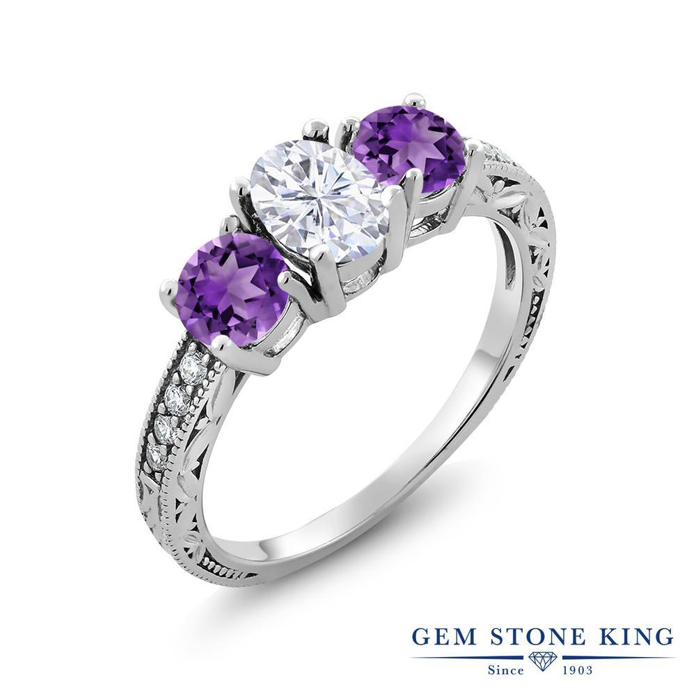 Gem Stone King 1.97カラット Forever Brilliant モアサナイト Charles & Colvard 天然 アメジスト シルバー925 指輪 リング レディース モアッサナイト スリーストーン 金属アレルギー対応 誕生日プレゼント
