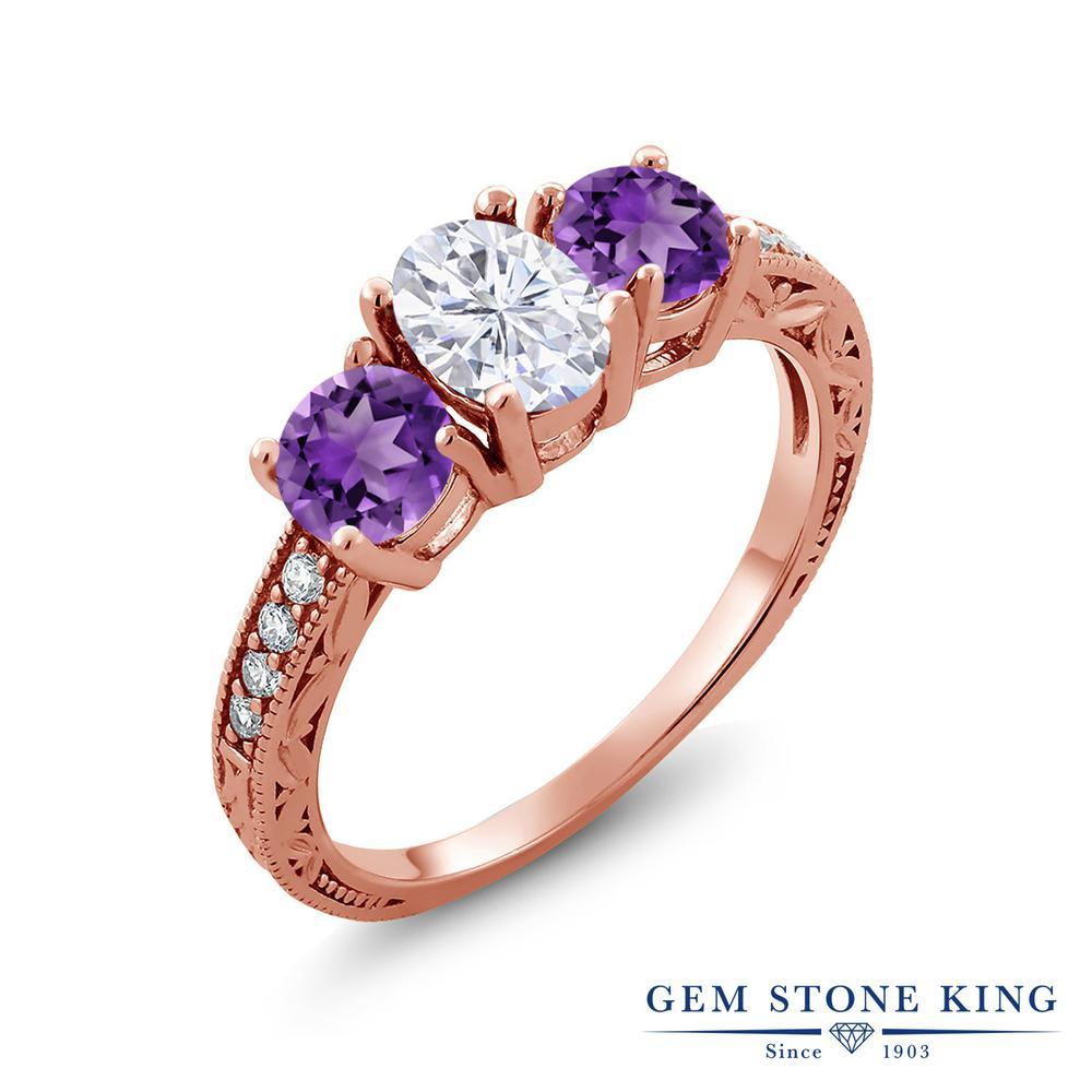 【10%OFF】 Gem Stone King 1.97カラット Forever Brilliant モアサナイト Charles & Colvard 天然 アメジスト 指輪 リング レディース シルバー925 ピンクゴールド 加工 モアッサナイト スリーストーン クリスマスプレゼント 女性 彼女 妻 誕生日