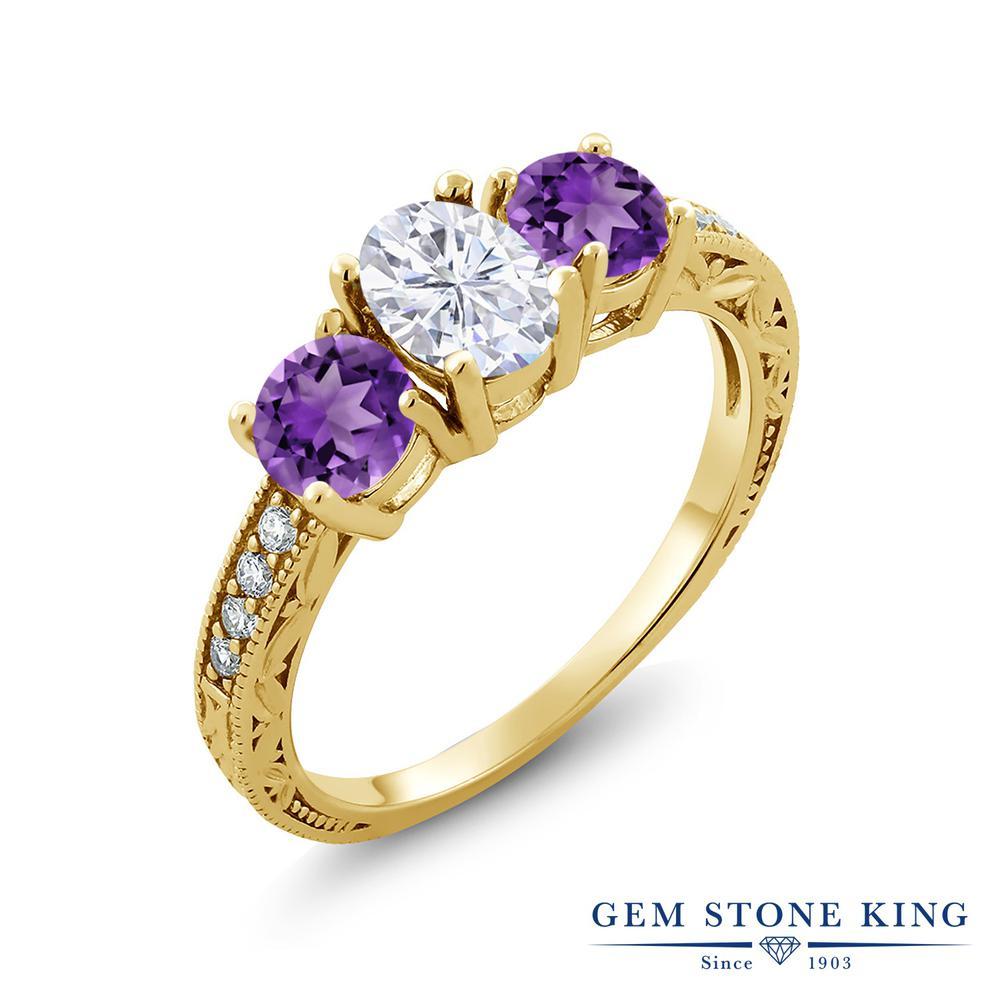【10%OFF】 Gem Stone King 1.97カラット Forever Brilliant モアサナイト Charles & Colvard 天然 アメジスト 指輪 リング レディース シルバー925 イエローゴールド 加工 モアッサナイト スリーストーン クリスマスプレゼント 女性 彼女 妻 誕生日