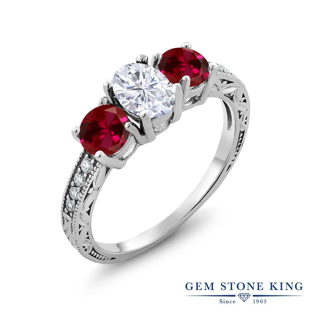 Gem Stone King 3.02カラット Forever Brilliant モアサナイト Charles & Colvard 合成ルビー シルバー925 指輪 リング レディース モアッサナイト スリーストーン 金属アレルギー対応 誕生日プレゼント