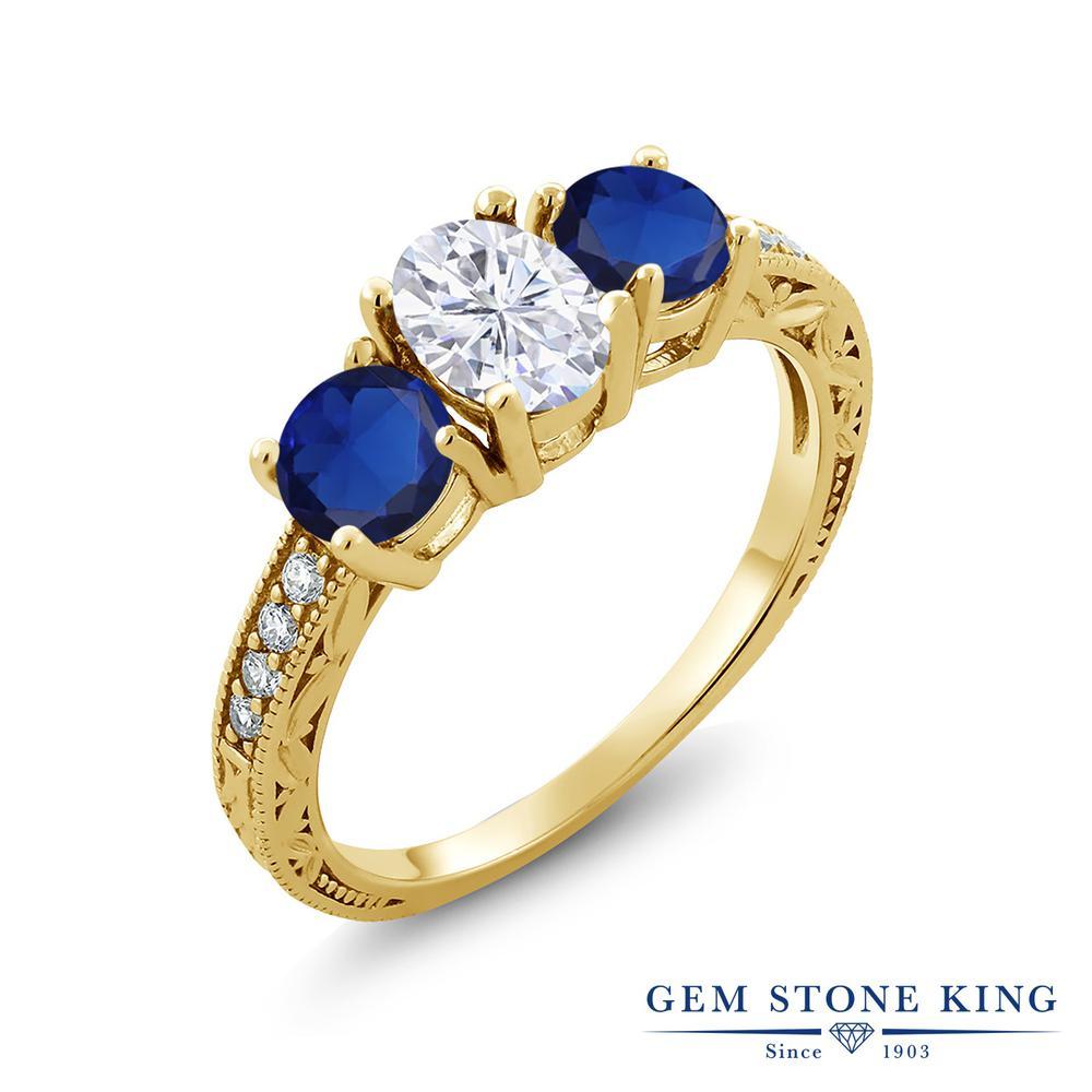 【10%OFF】 Gem Stone King 2.22カラット Forever Brilliant モアサナイト Charles & Colvard シミュレイテッド サファイア 指輪 リング レディース シルバー925 イエローゴールド 加工 モアッサナイト スリーストーン クリスマスプレゼント 女性 彼女 妻 誕生日