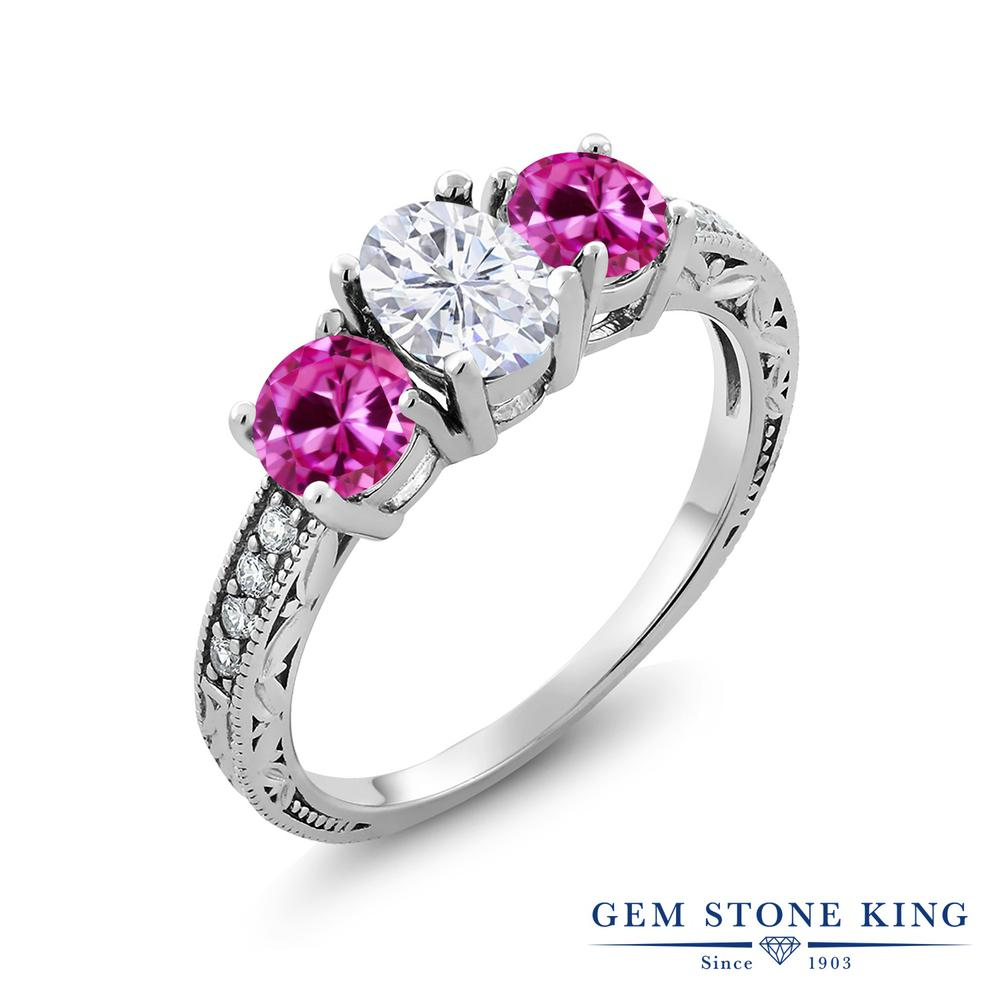 【10%OFF】 Gem Stone King 2.12カラット Forever Brilliant モアサナイト Charles & Colvard 合成ピンクサファイア 指輪 リング レディース シルバー925 モアッサナイト スリーストーン クリスマスプレゼント 女性 彼女 妻 誕生日