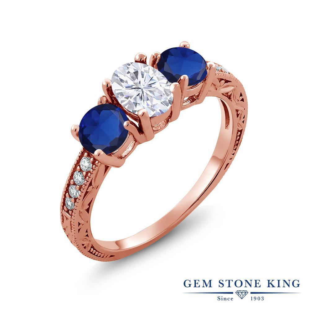 Gem Stone King 2.22カラット Forever Brilliant モアサナイト Charles & Colvard シミュレイテッド サファイア シルバー925 ピンクゴールドコーティング 指輪 リング レディース モアッサナイト スリーストーン 金属アレルギー対応 誕生日プレゼント