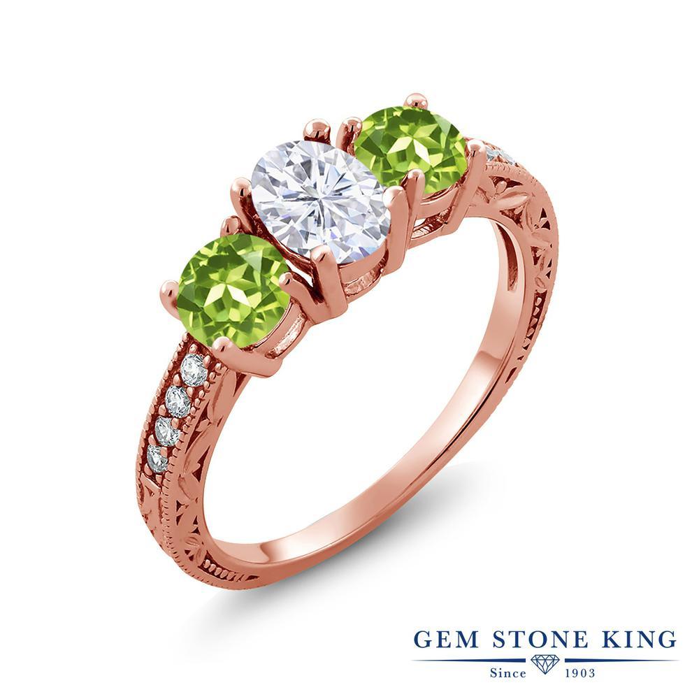 Gem Stone King 2.12カラット Forever Brilliant モアサナイト Charles & Colvard 天然石 ペリドット シルバー925 ピンクゴールドコーティング 指輪 リング レディース モアッサナイト スリーストーン 金属アレルギー対応 誕生日プレゼント