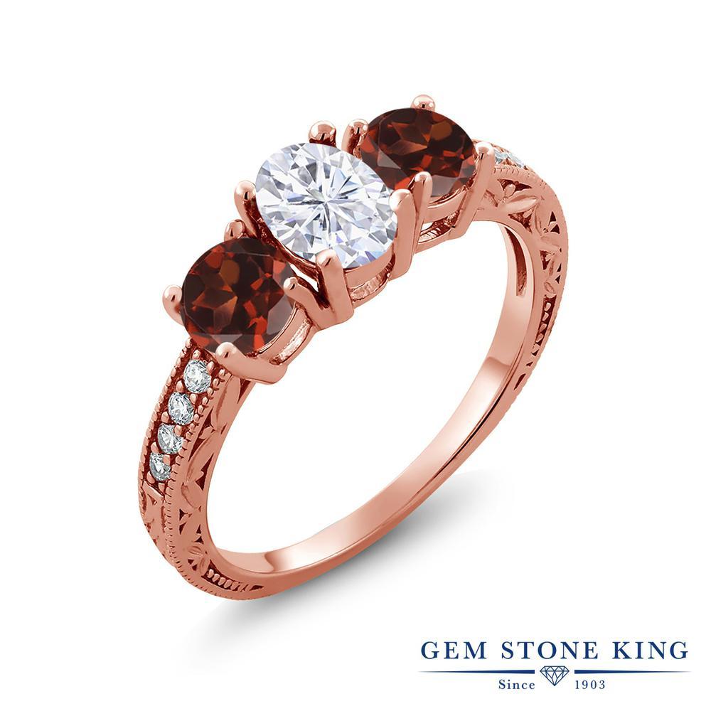 Gem Stone King 3.02カラット Forever Brilliant モアサナイト Charles & Colvard 天然 ガーネット シルバー925 ピンクゴールドコーティング 指輪 リング レディース モアッサナイト スリーストーン 金属アレルギー対応 誕生日プレゼント