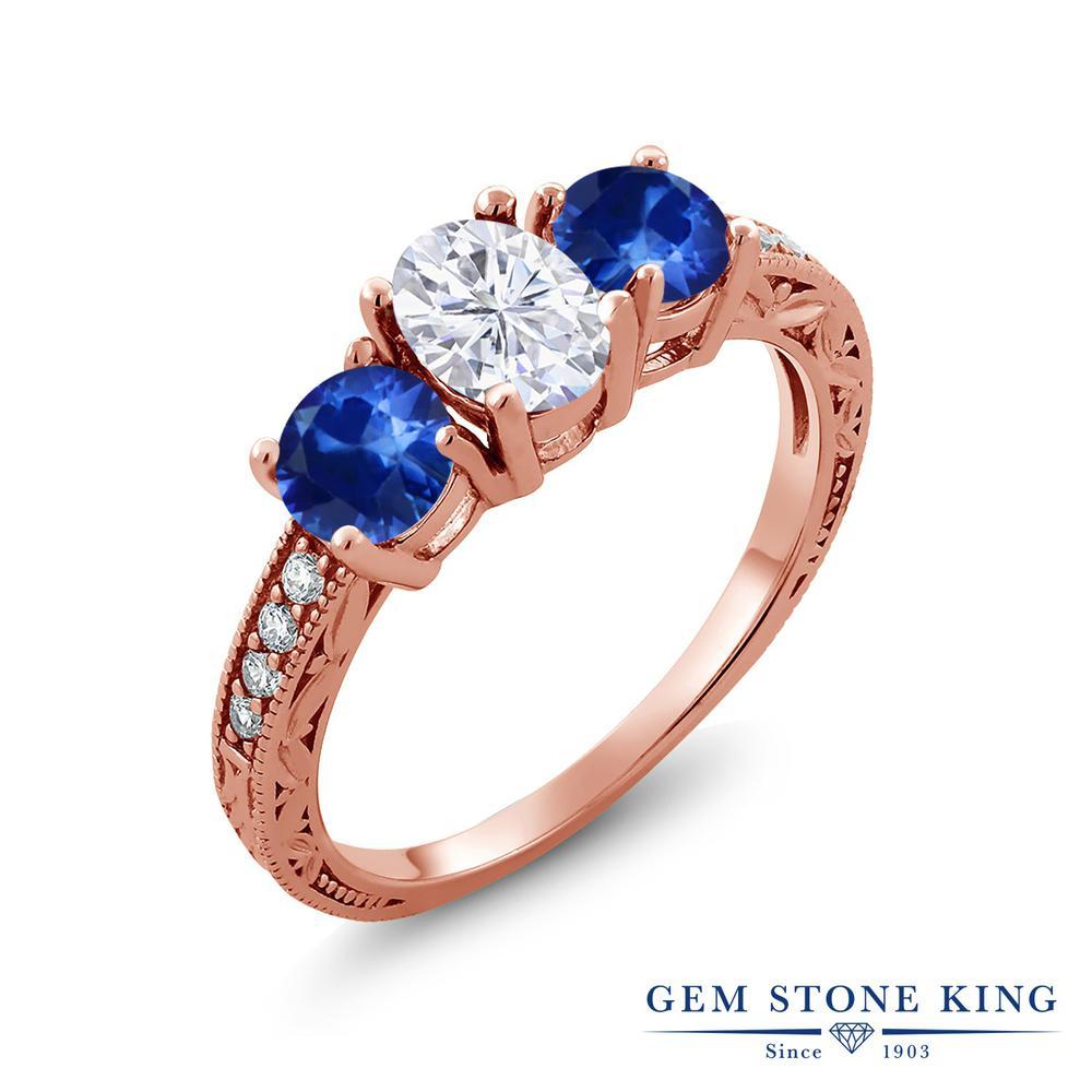 Gem Stone King 2.22カラット Forever Brilliant モアサナイト Charles & Colvard 天然 サファイア シルバー925 ピンクゴールドコーティング 指輪 リング レディース モアッサナイト スリーストーン 金属アレルギー対応 誕生日プレゼント