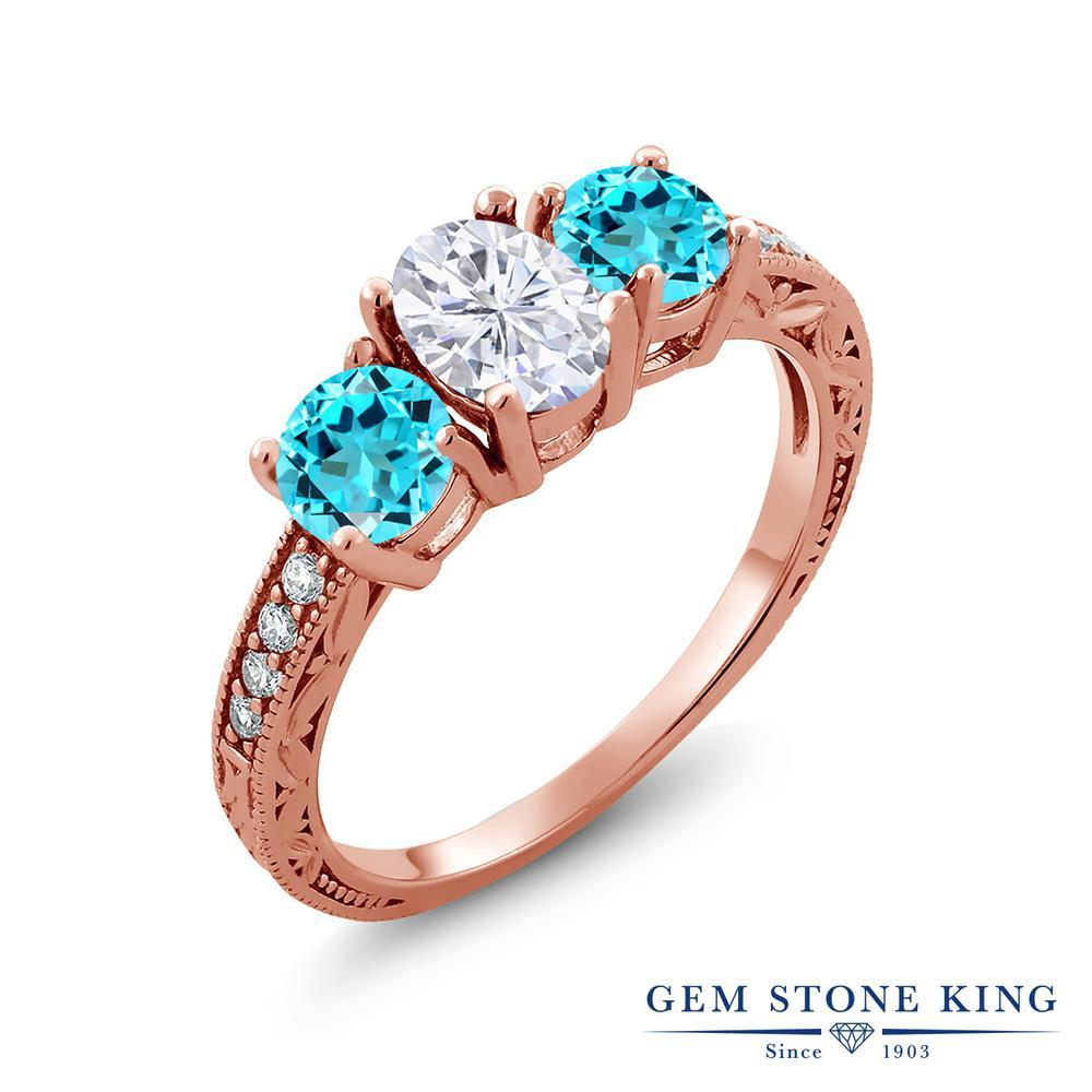 【10%OFF】 Gem Stone King 2.32カラット Forever Brilliant モアサナイト Charles & Colvard 天然 スイスブルートパーズ 指輪 リング レディース シルバー925 ピンクゴールド 加工 モアッサナイト スリーストーン クリスマスプレゼント 女性 彼女 妻 誕生日