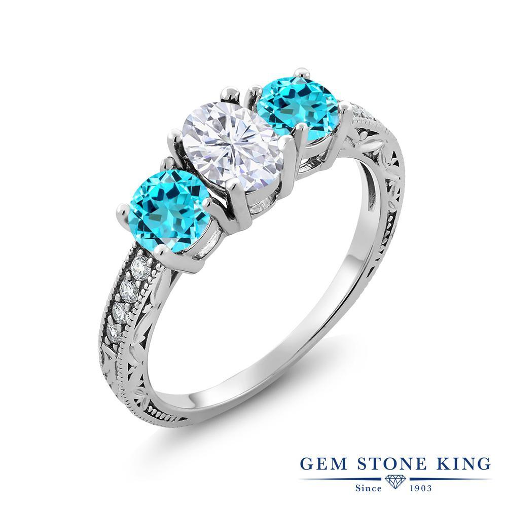 【10%OFF】 Gem Stone King 2.32カラット Forever Brilliant モアサナイト Charles & Colvard 天然 スイスブルートパーズ 指輪 リング レディース シルバー925 モアッサナイト スリーストーン クリスマスプレゼント 女性 彼女 妻 誕生日