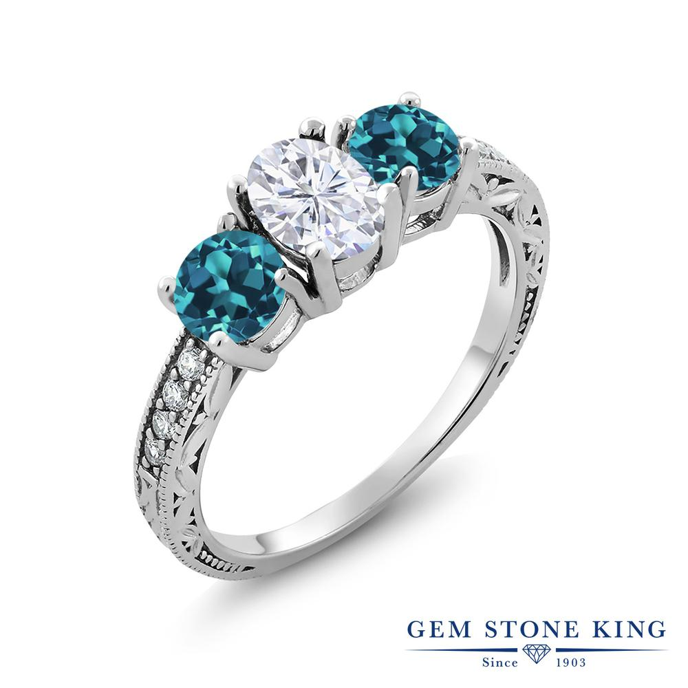 【10%OFF】 Gem Stone King 2.42カラット Forever Brilliant モアサナイト Charles & Colvard 天然 ロンドンブルートパーズ 指輪 リング レディース シルバー925 モアッサナイト スリーストーン クリスマスプレゼント 女性 彼女 妻 誕生日