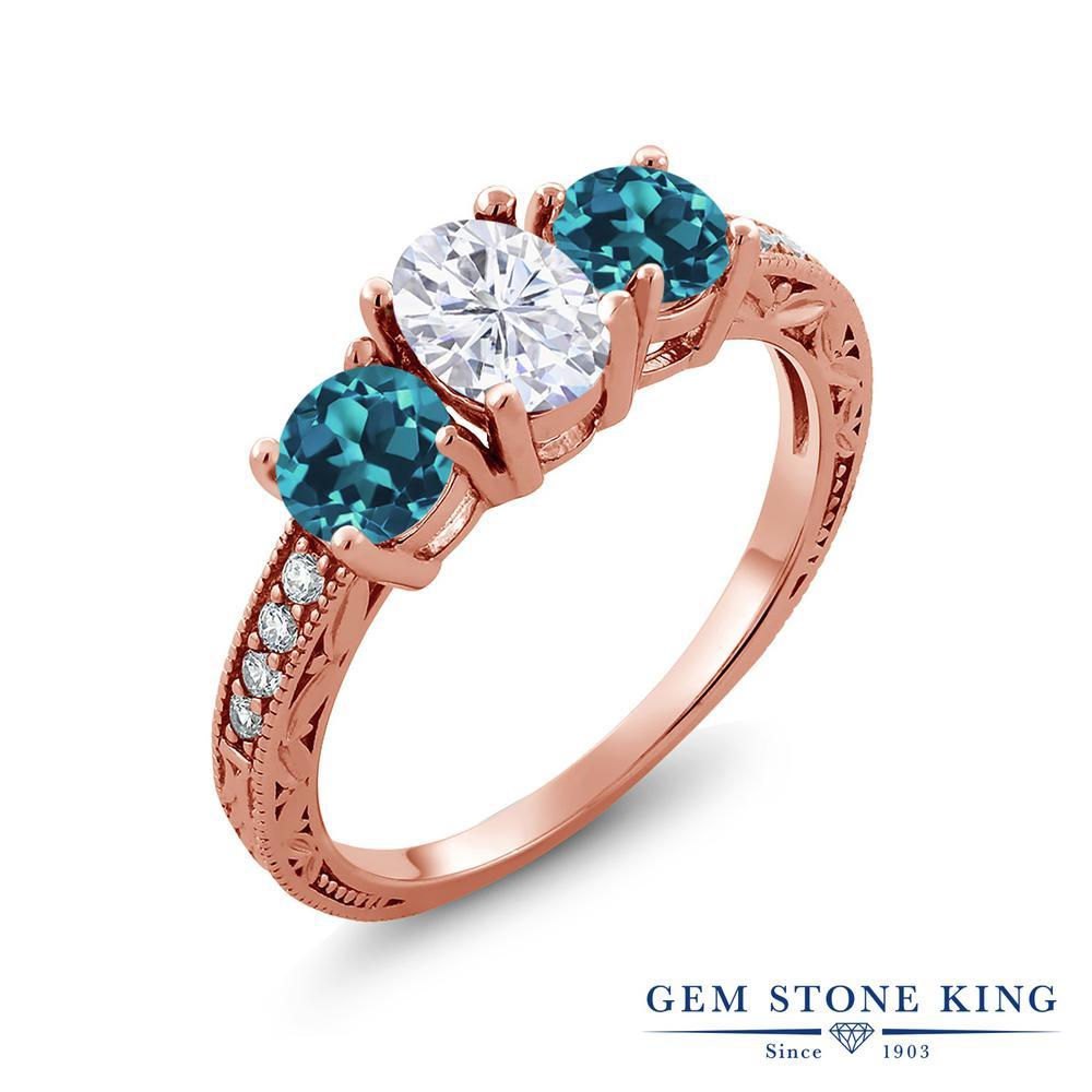 【10%OFF】 Gem Stone King 2.42カラット Forever Brilliant モアサナイト Charles & Colvard 天然 ロンドンブルートパーズ 指輪 リング レディース シルバー925 ピンクゴールド 加工 モアッサナイト スリーストーン クリスマスプレゼント 女性 彼女 妻 誕生日