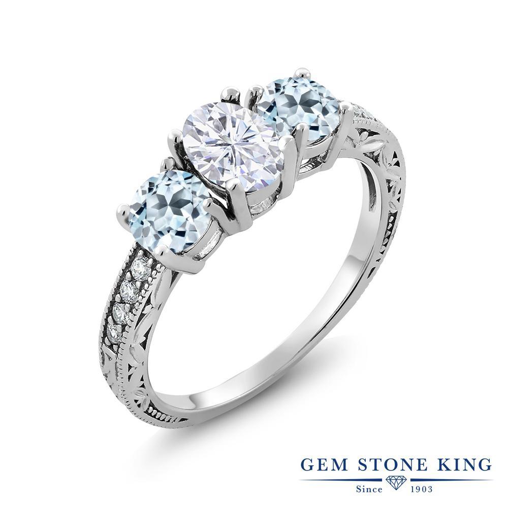 【10%OFF】 Gem Stone King 2.42カラット Forever Brilliant モアサナイト Charles & Colvard 天然 スカイブルートパーズ 指輪 リング レディース シルバー925 モアッサナイト スリーストーン クリスマスプレゼント 女性 彼女 妻 誕生日