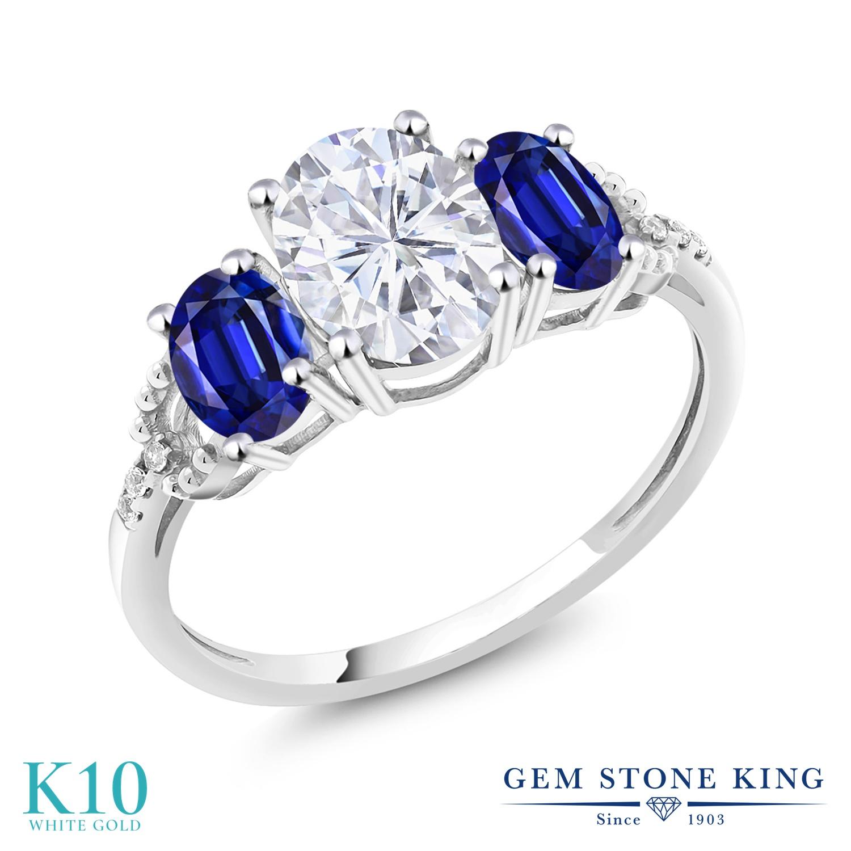 Gem Stone King 2.74カラット Forever Brilliant モアッサナイト Charles & Colvard 天然 カイヤナイト (ブルー) 天然 ダイヤモンド 10金 ホワイトゴールド(K10) 指輪 リング レディース モアサナイト 大粒 スリーストーン 金属アレルギー対応 誕生日プレゼント