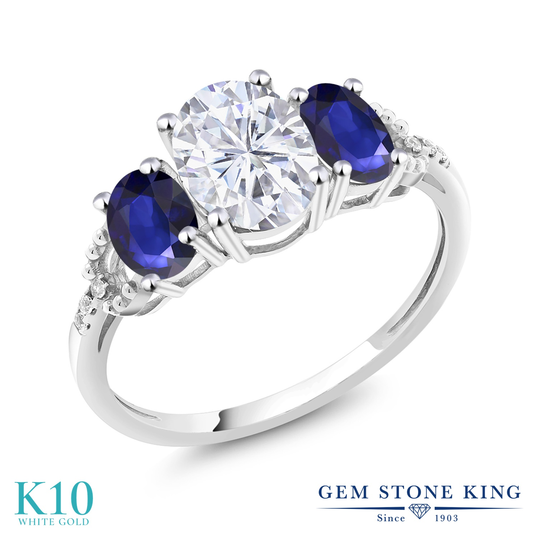 【クーポンで10%OFF】 Gem Stone King 5.19カラット Forever Brilliant モアッサナイト Charles & Colvard 天然 サファイア 天然 ダイヤモンド 10金 ホワイトゴールド(K10) 指輪 リング レディース モアサナイト 大粒 スリーストーン 金属アレルギー対応 誕生日プレゼント