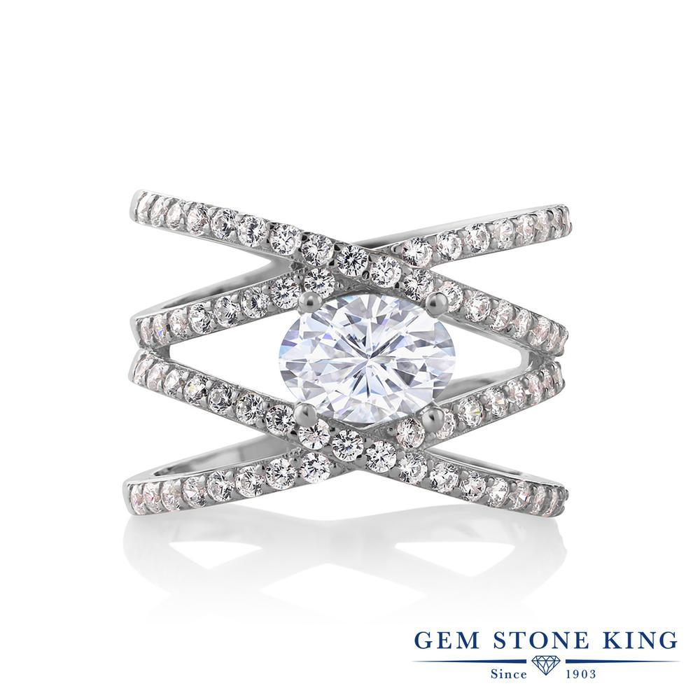 【10%OFF】 Gem Stone King 2.43カラット Forever Brilliant モアサナイト Charles & Colvard 指輪 リング レディース シルバー925 モアッサナイト 大粒 クロスオーバー クリスマスプレゼント 女性 彼女 妻 誕生日