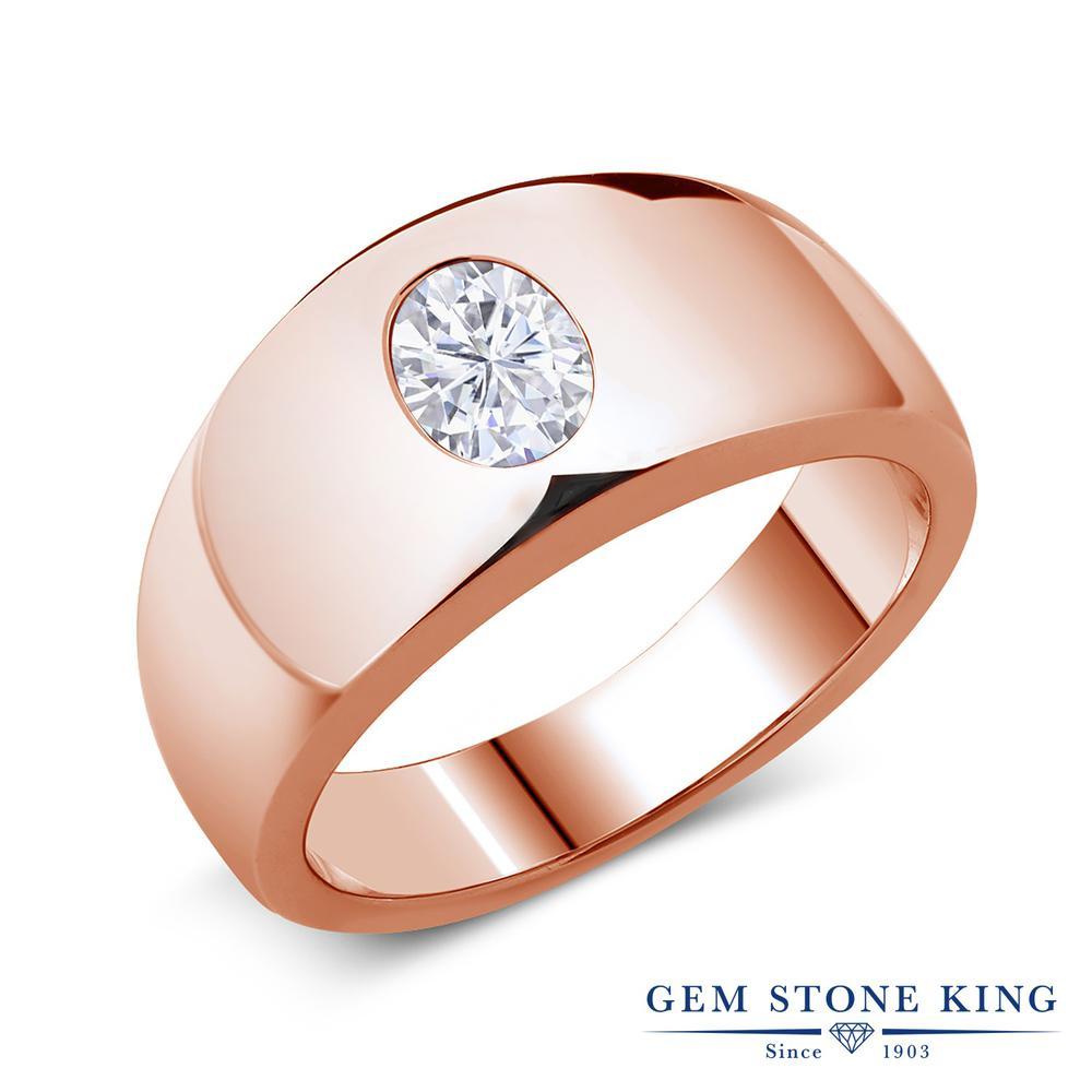 Gem Stone King 1.5カラット Forever Brilliant モアッサナイト Charles & Colvard シルバー925 ピンクゴールドコーティング 指輪 リング レディース モアサナイト 大粒 一粒 シンプル 金属アレルギー対応 誕生日プレゼント