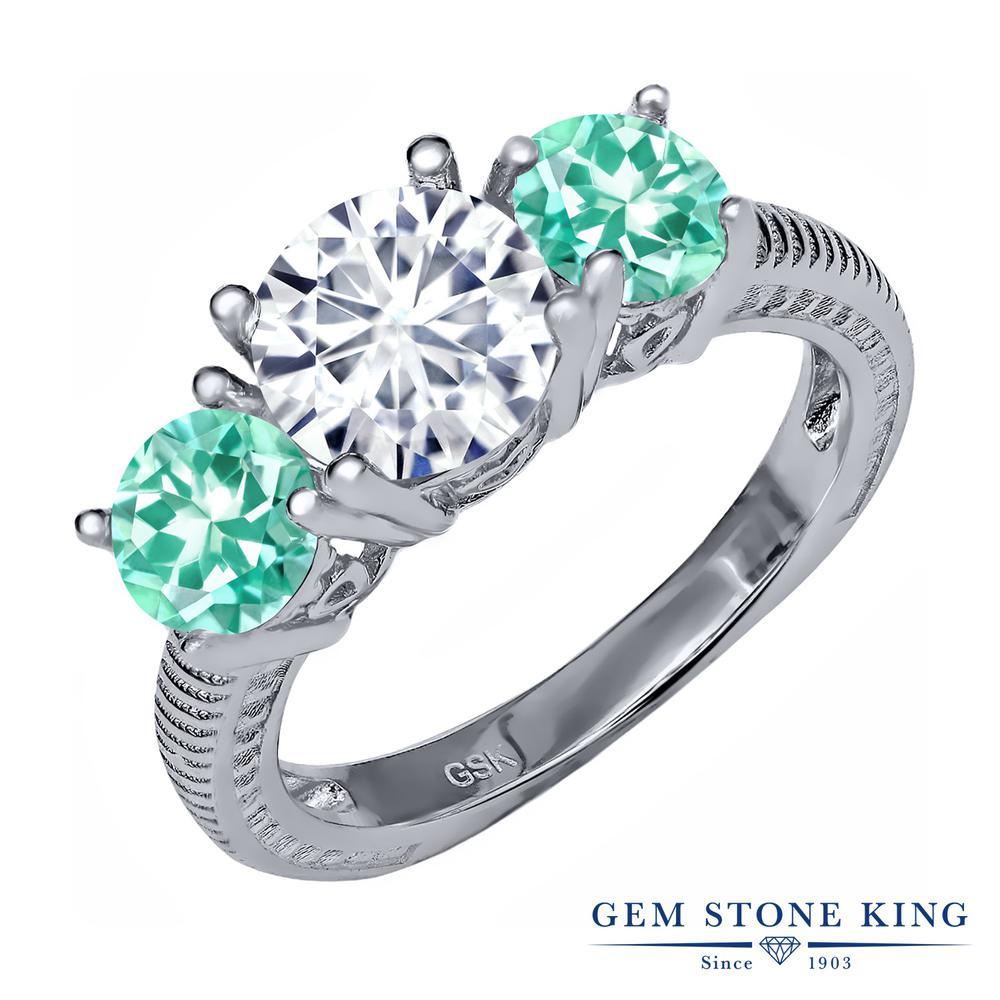 Gem Stone King 2.19カラット Forever Brilliant モアッサナイト Charles & Colvard 天然 アパタイト シルバー925 指輪 リング レディース モアサナイト 大粒 シンプル スリーストーン 金属アレルギー対応 誕生日プレゼント