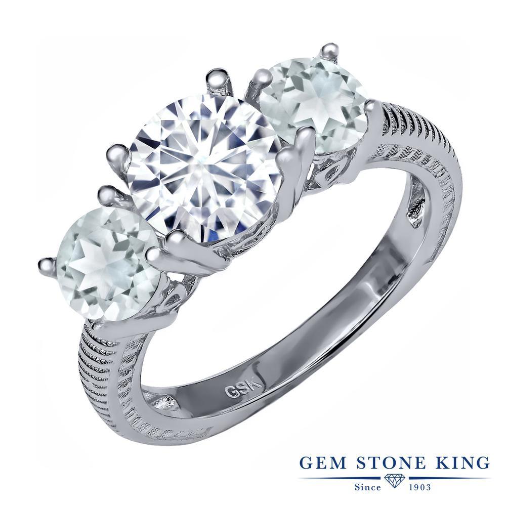 Gem Stone King 2.2カラット Forever Brilliant モアッサナイト Charles & Colvard 天然アクアマリン シルバー925 指輪 リング レディース 大粒 シンプル 誕生日プレゼント