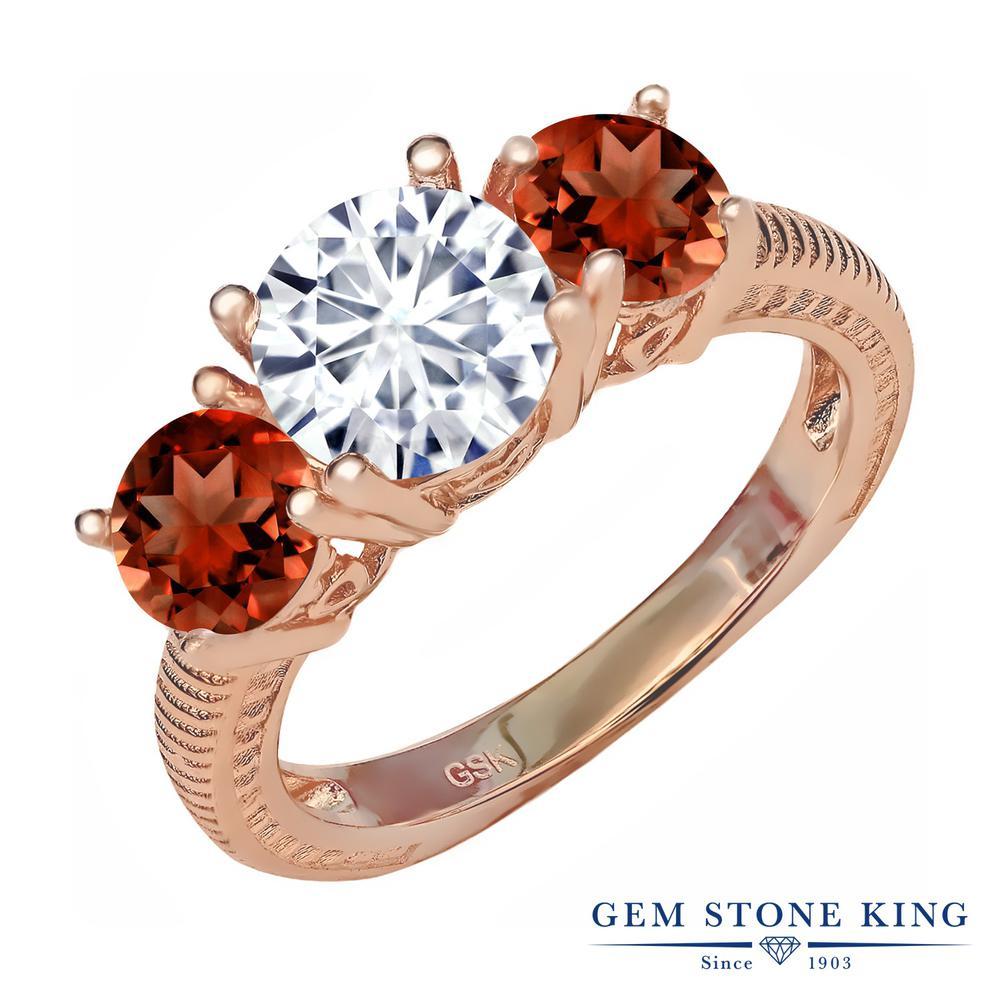 Gem Stone King 3.2カラット Forever Brilliant モアッサナイト Charles & Colvard 天然ガーネット シルバー 925 ローズゴールドコーティング 指輪 リング レディース 大粒 シンプル 誕生日プレゼント