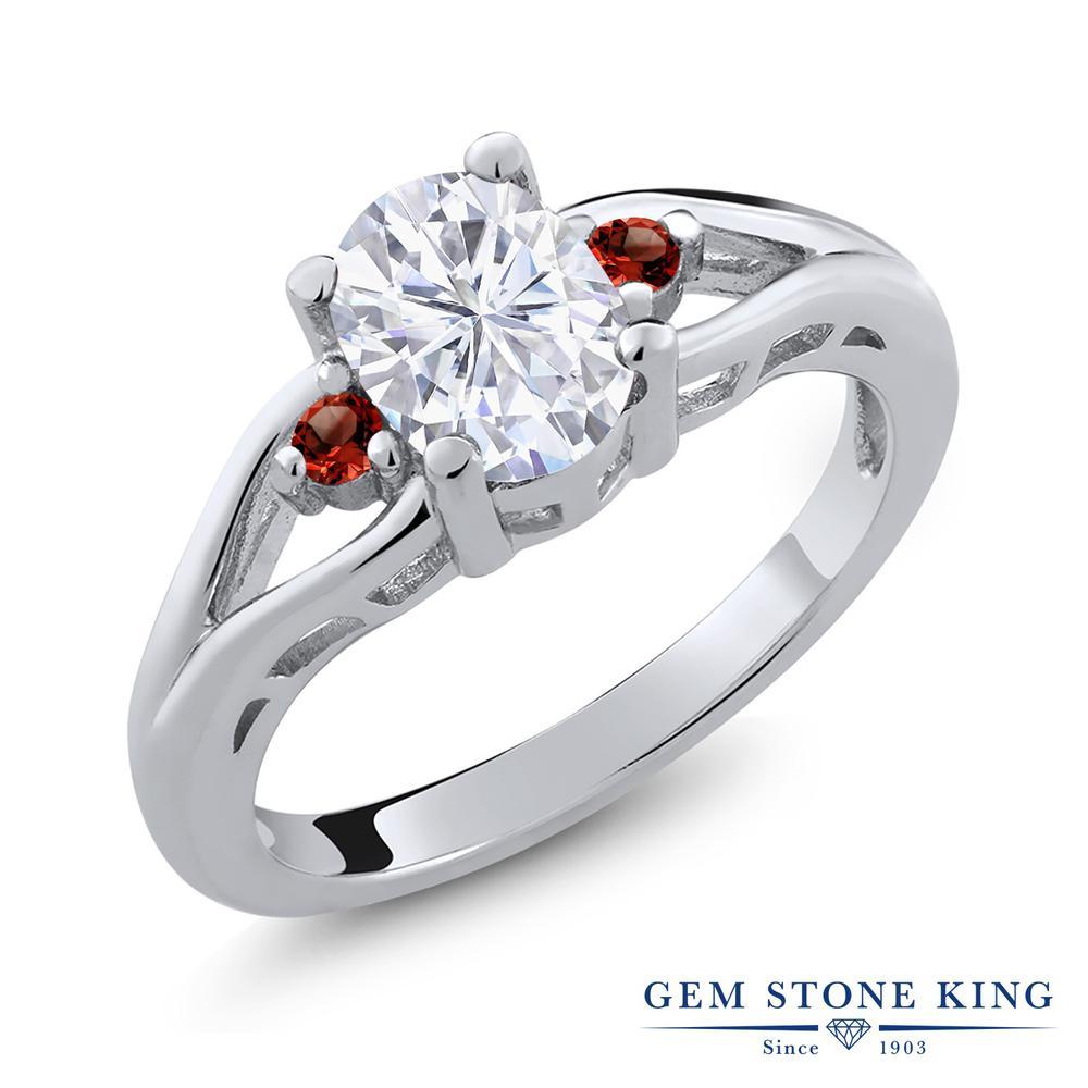 Gem Stone King 1.58カラット Forever Brilliant モアッサナイト Charles & Colvard 天然ガーネット シルバー925 指輪 リング レディース 大粒 シンプル 誕生日プレゼント